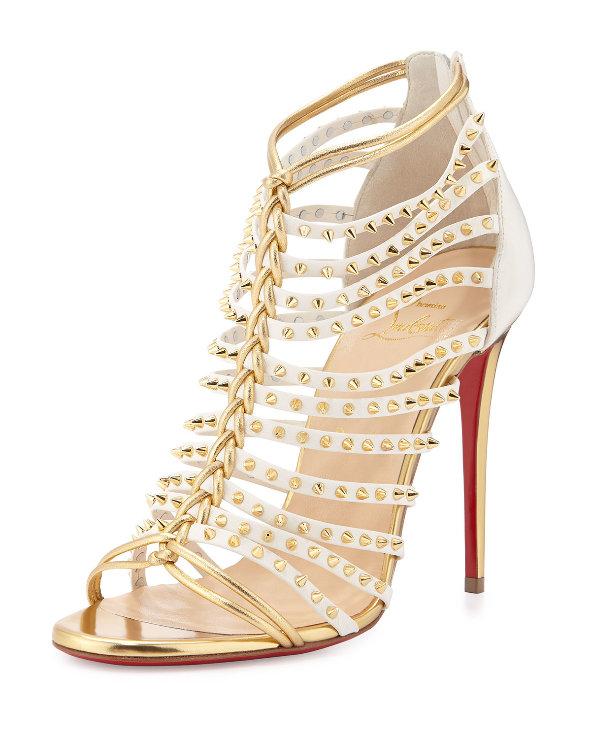 christian louboutin fake - Christian louboutin Millaclou Studded Leather Cage Sandals in Gold ...