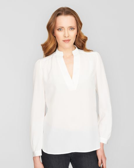 Stand Collar Blouse Designs Images : Jaeger v neck stand collar blouse in white ivory lyst