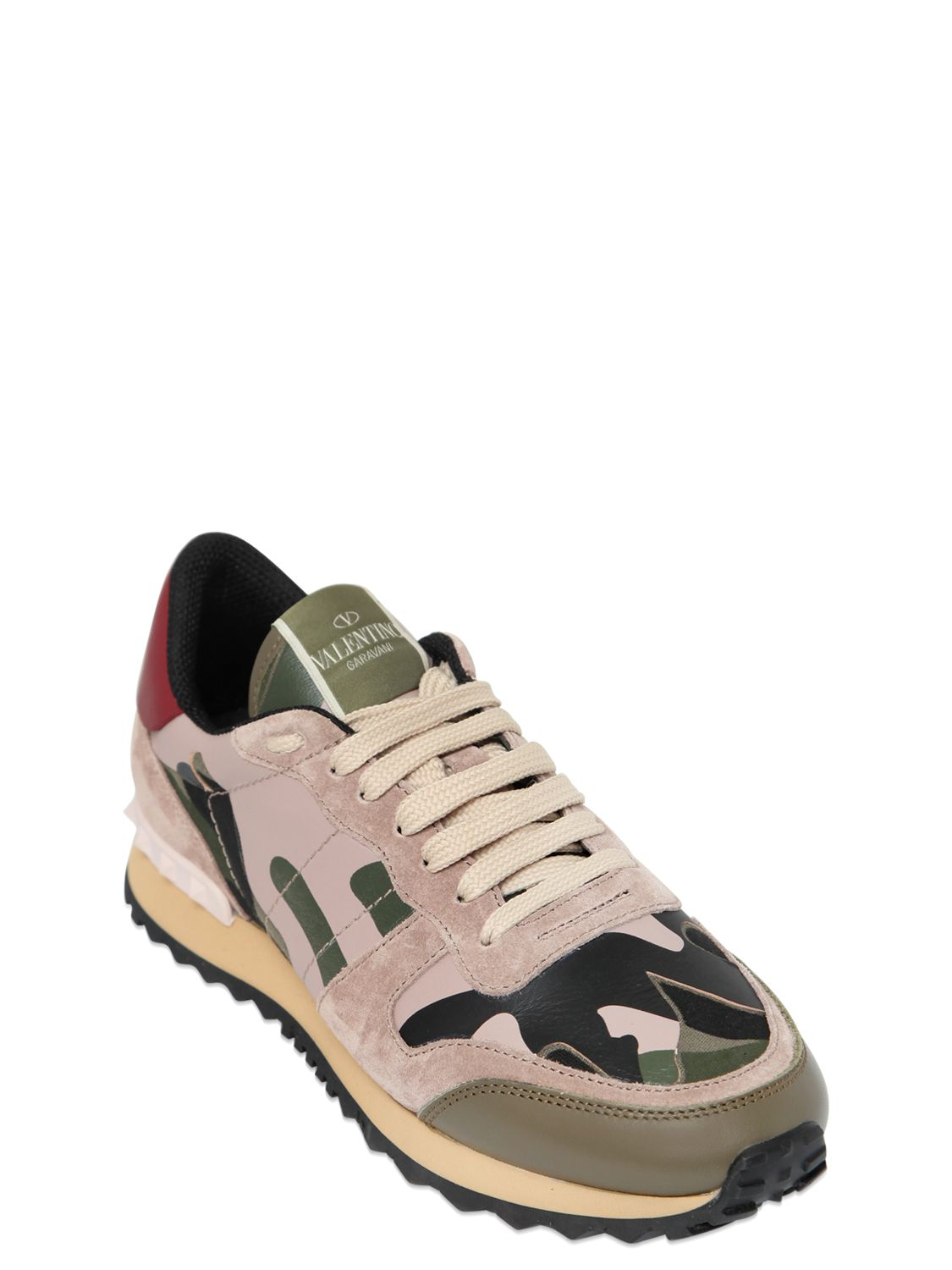 1ae0fcb8e77a3 Valentino Camouflage Leather & Suede Sneakers in Green - Lyst