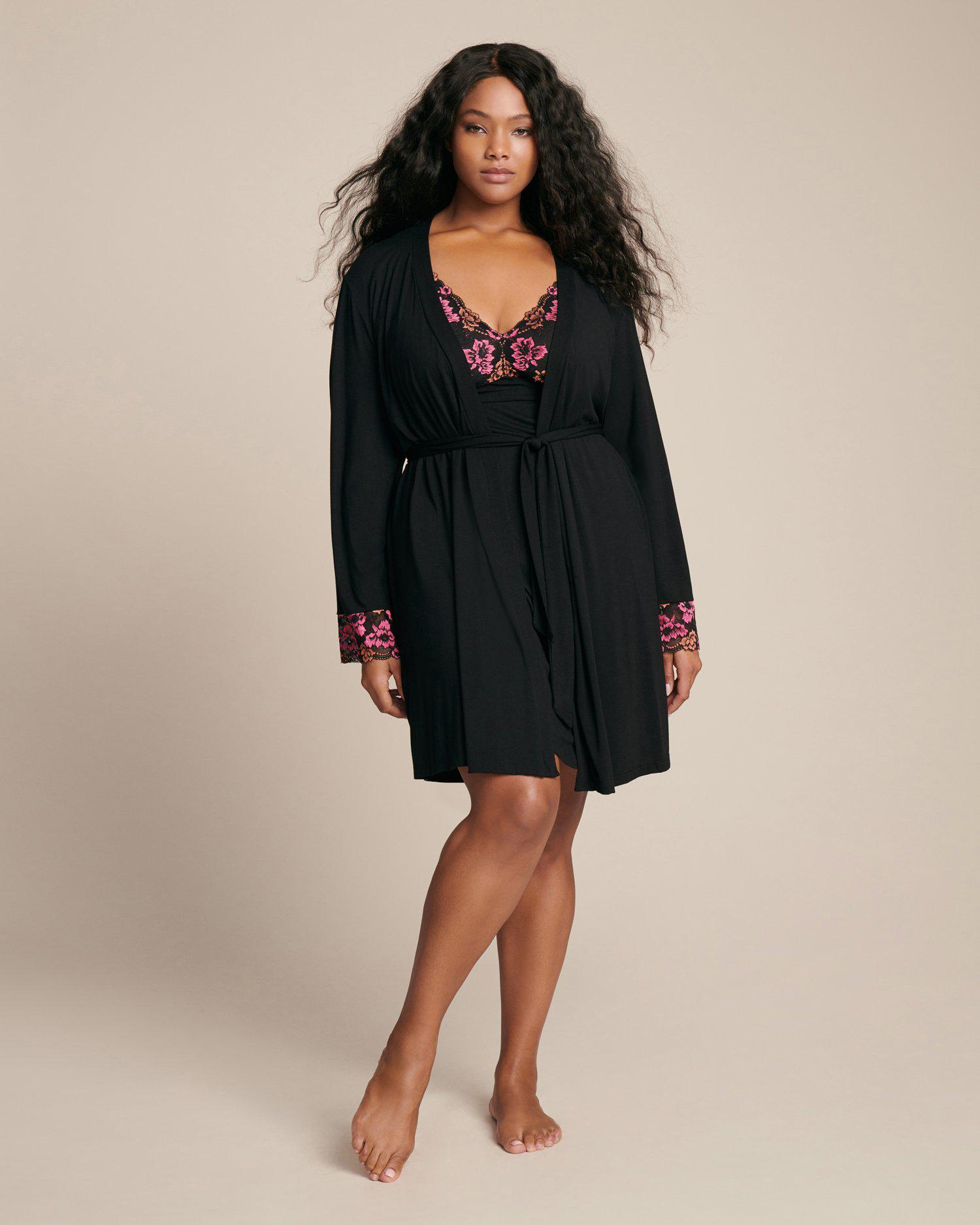 Lyst - Cosabella Savona Extended Robe in Black aa8e4b507