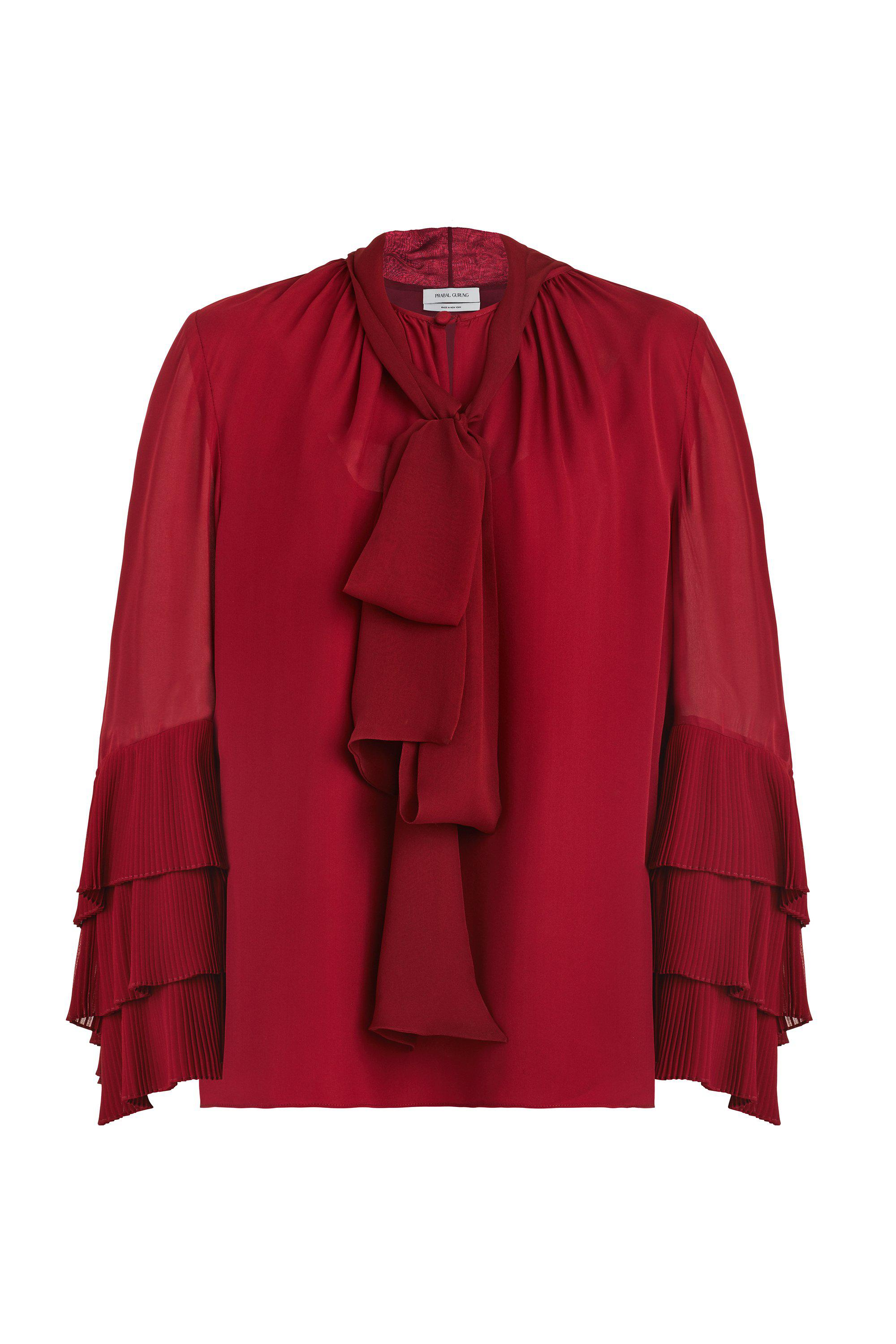 1c4b61f8e9ca77 Lyst - Prabal Gurung Tie Neck Blouse in Red