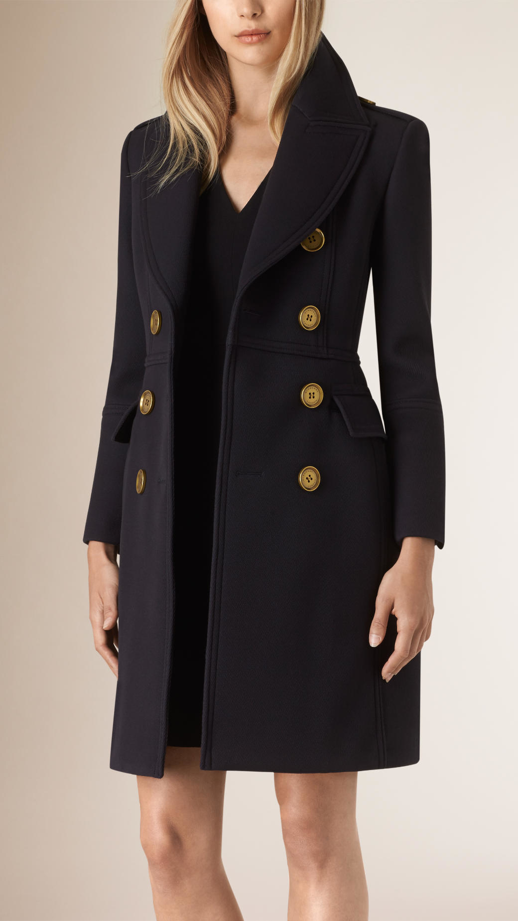 burberry leather trim wool military coat in blue lyst. Black Bedroom Furniture Sets. Home Design Ideas