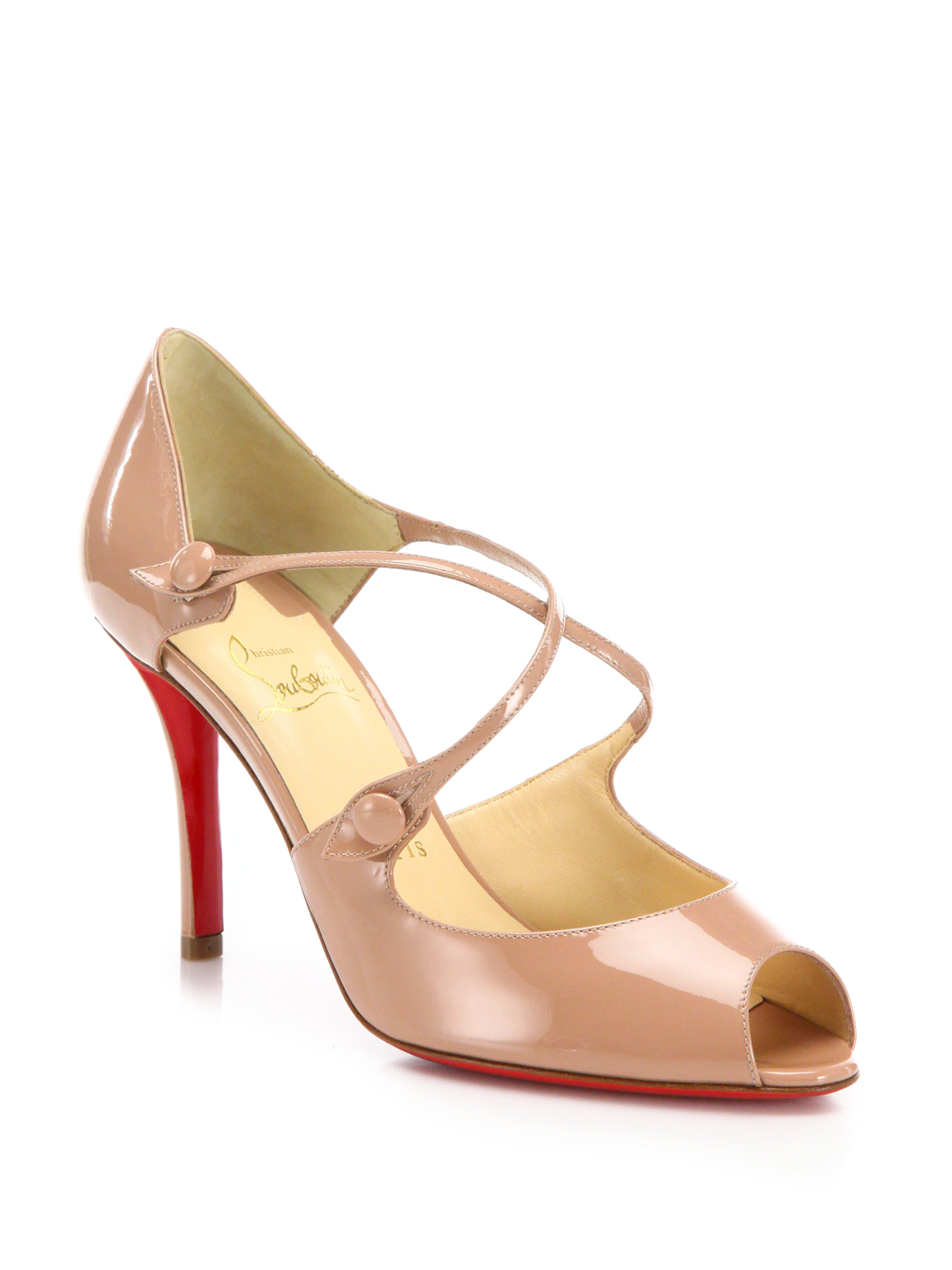 red bottom spiked sneakers - Christian louboutin Debriditoe Patent Leather Sandals in Pink ...