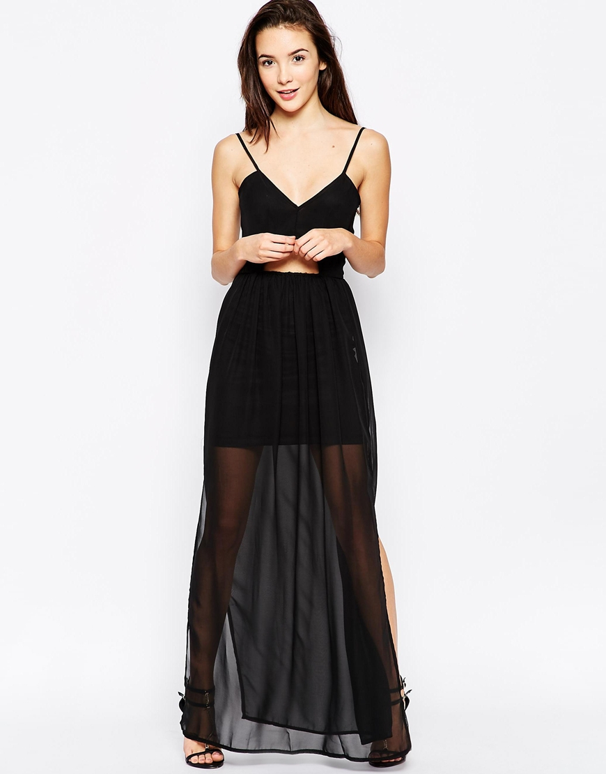 oh my cut out maxi dress with chiffon skirt in black
