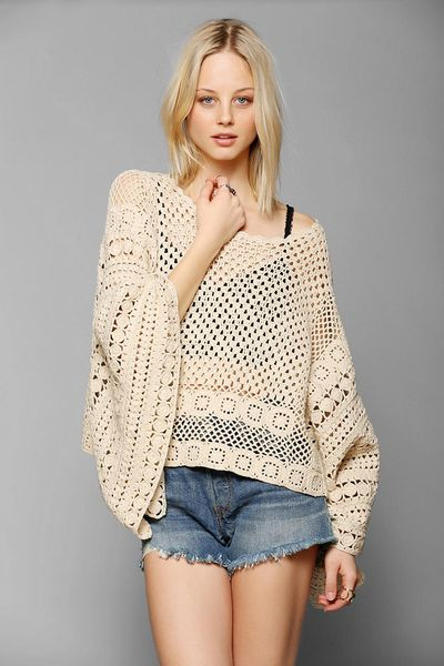Pins And Needles Crochet Poncho Sweater in Beige (IVORY ...