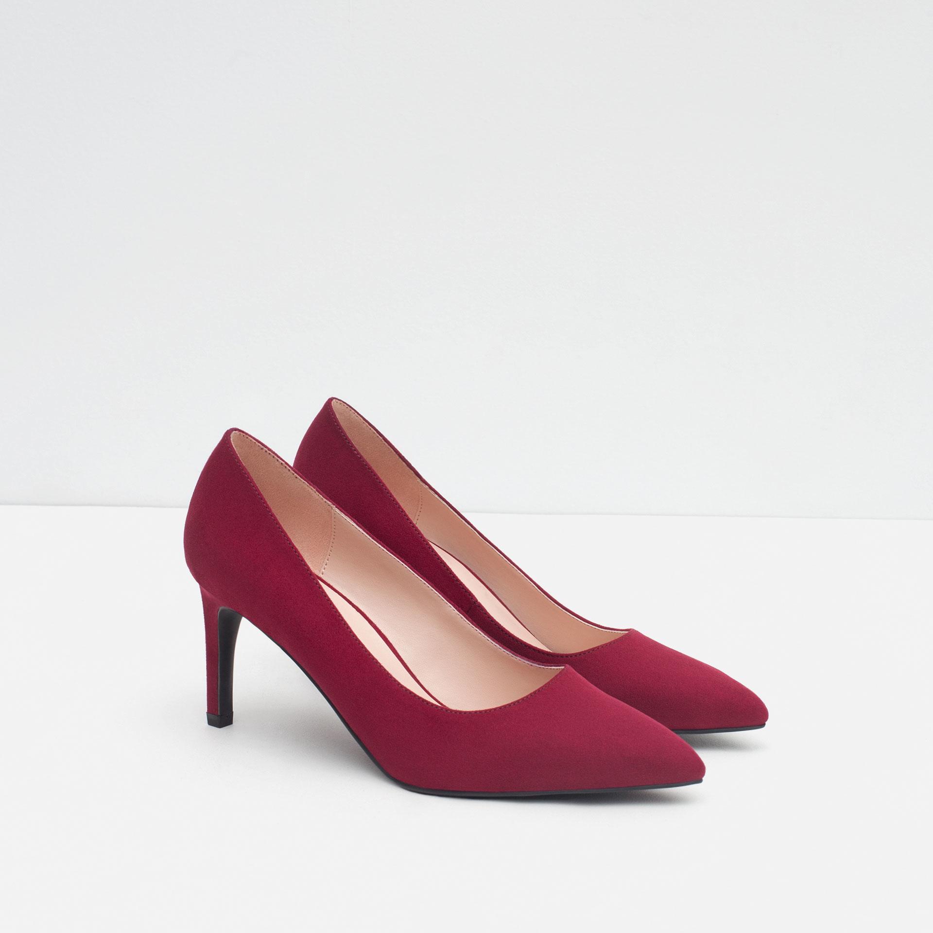 zara high heel court shoes in purple burgundy lyst