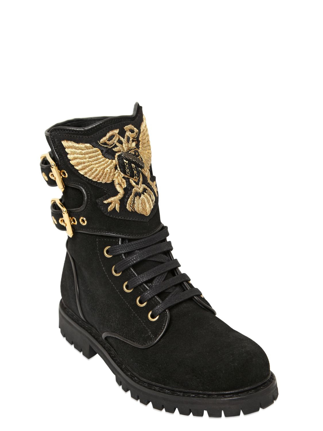 Balmain 20mm Eagle Suede Combat Boots In Metallic Lyst