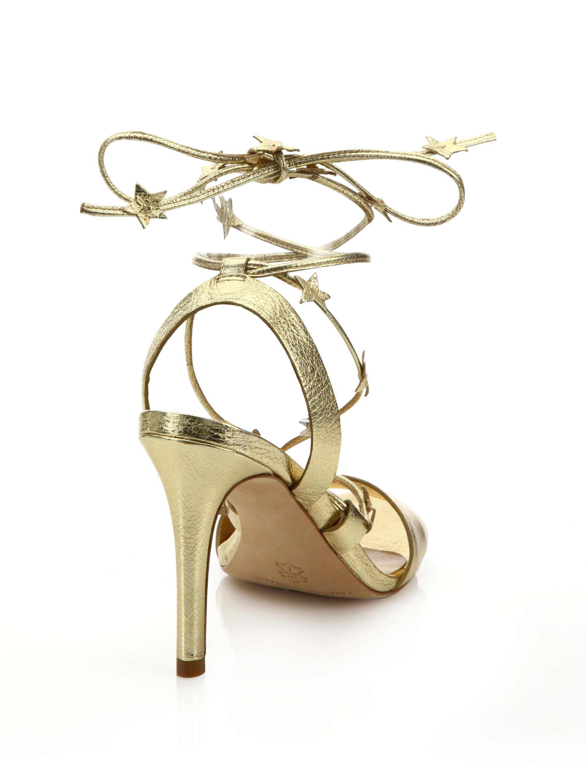 374a5929f76 Lyst - Loeffler Randall Arielle Star Metallic Leather Lace-up ...
