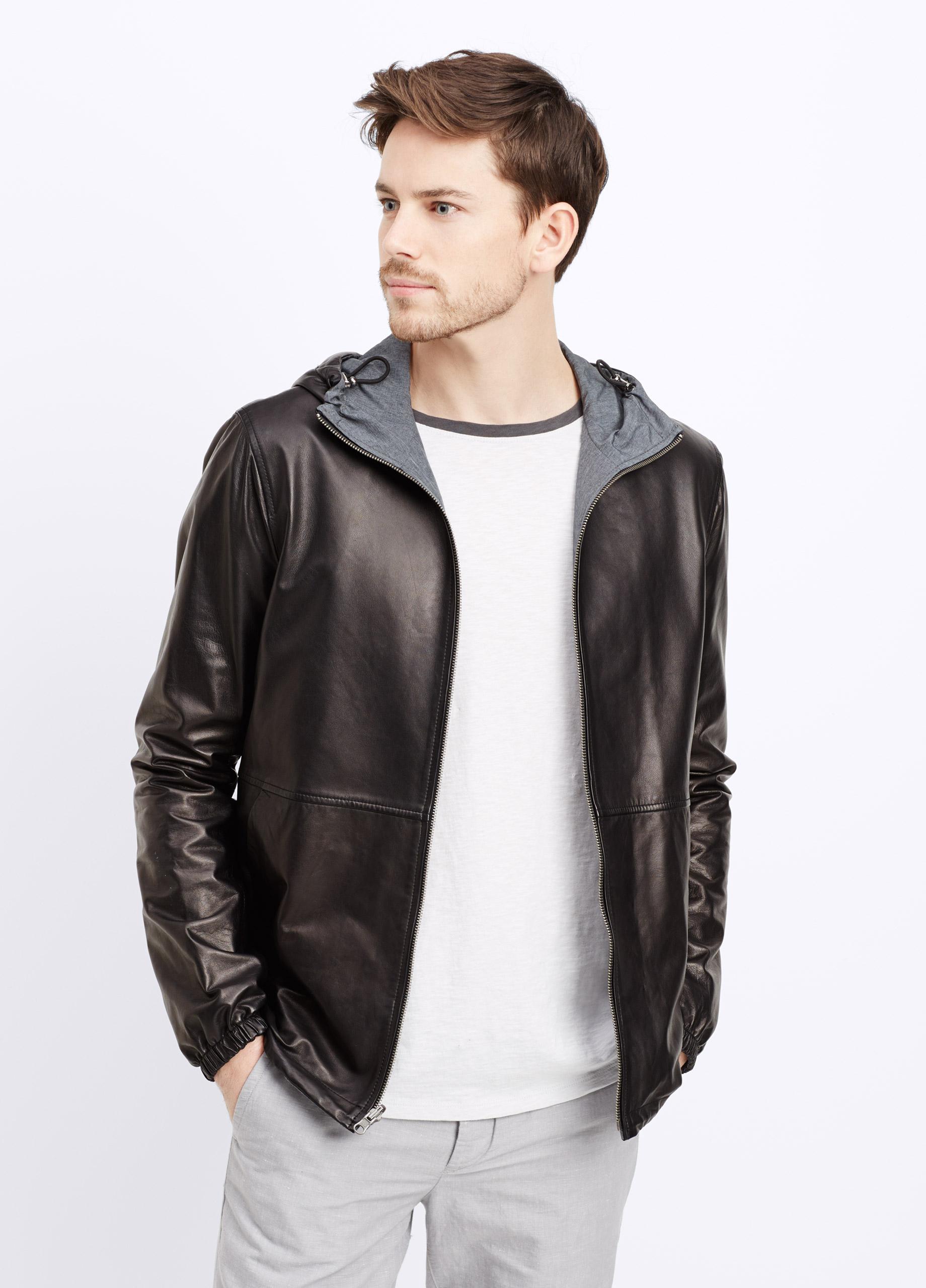 Vince Runa Light Hooded Leather Jacket In Black For Men Lyst