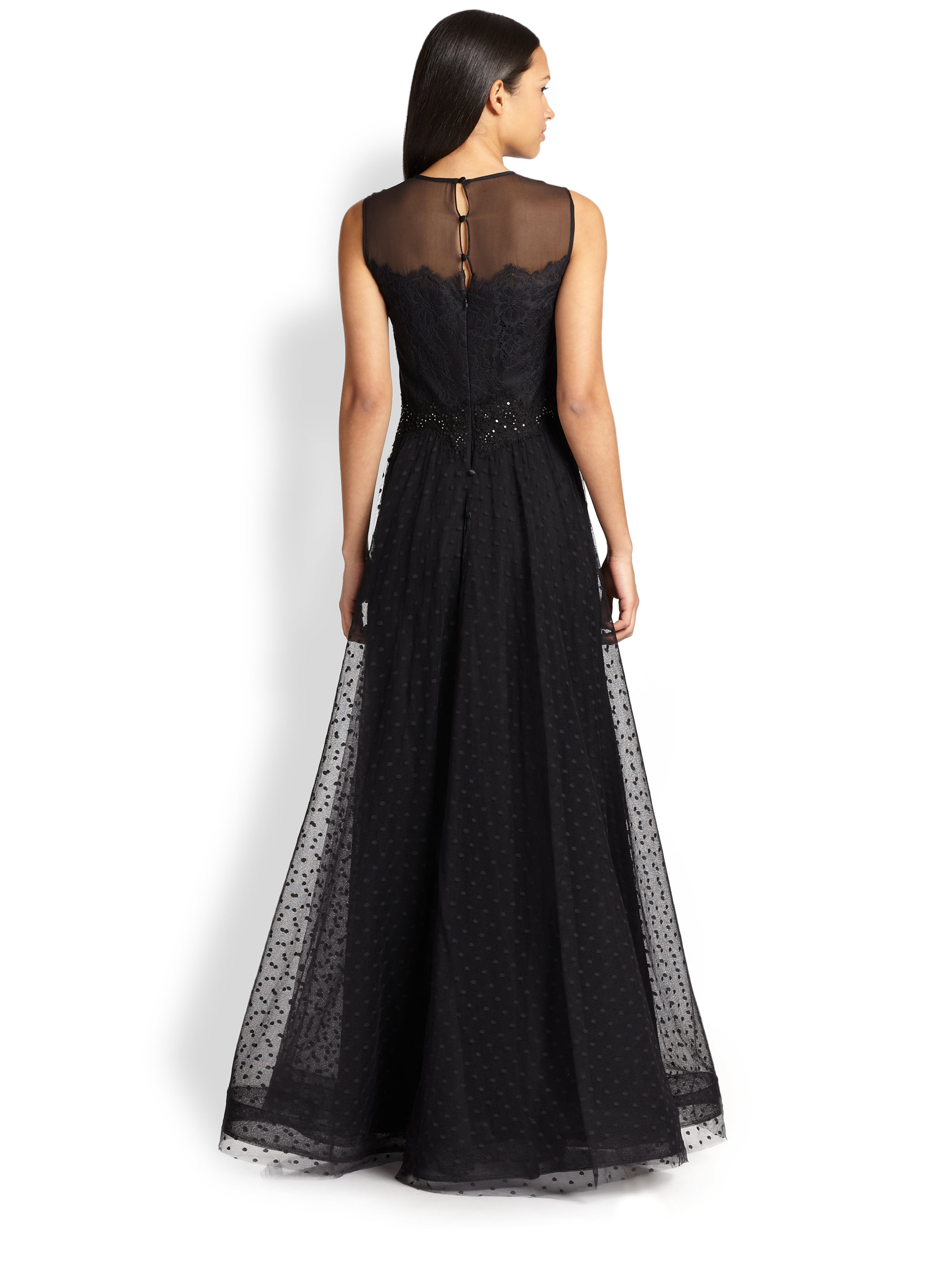Lyst - Teri Jon Illusion Lace-bodice Gown in Black