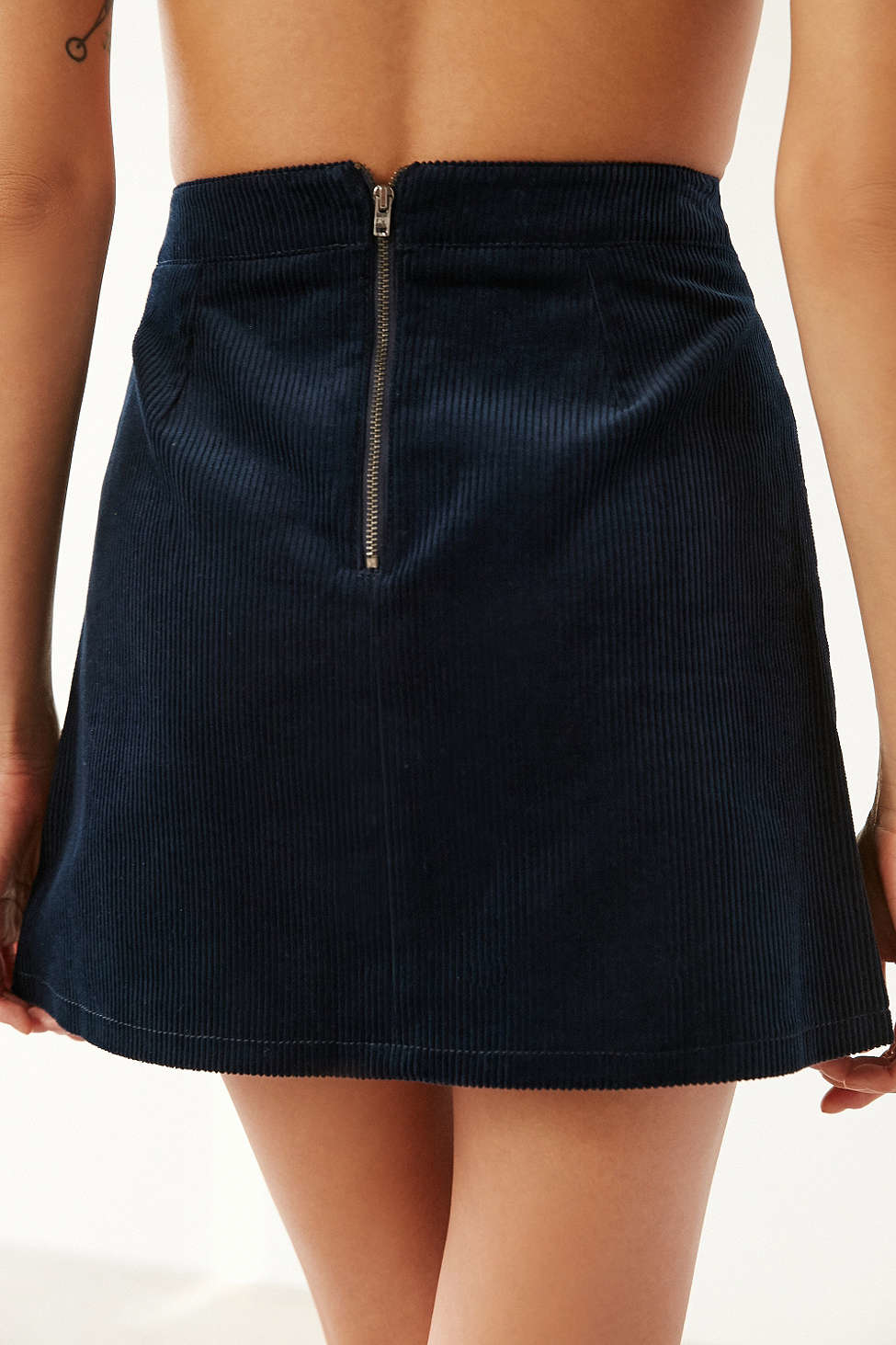 bdg corduroy a line utility skirt in blue lyst