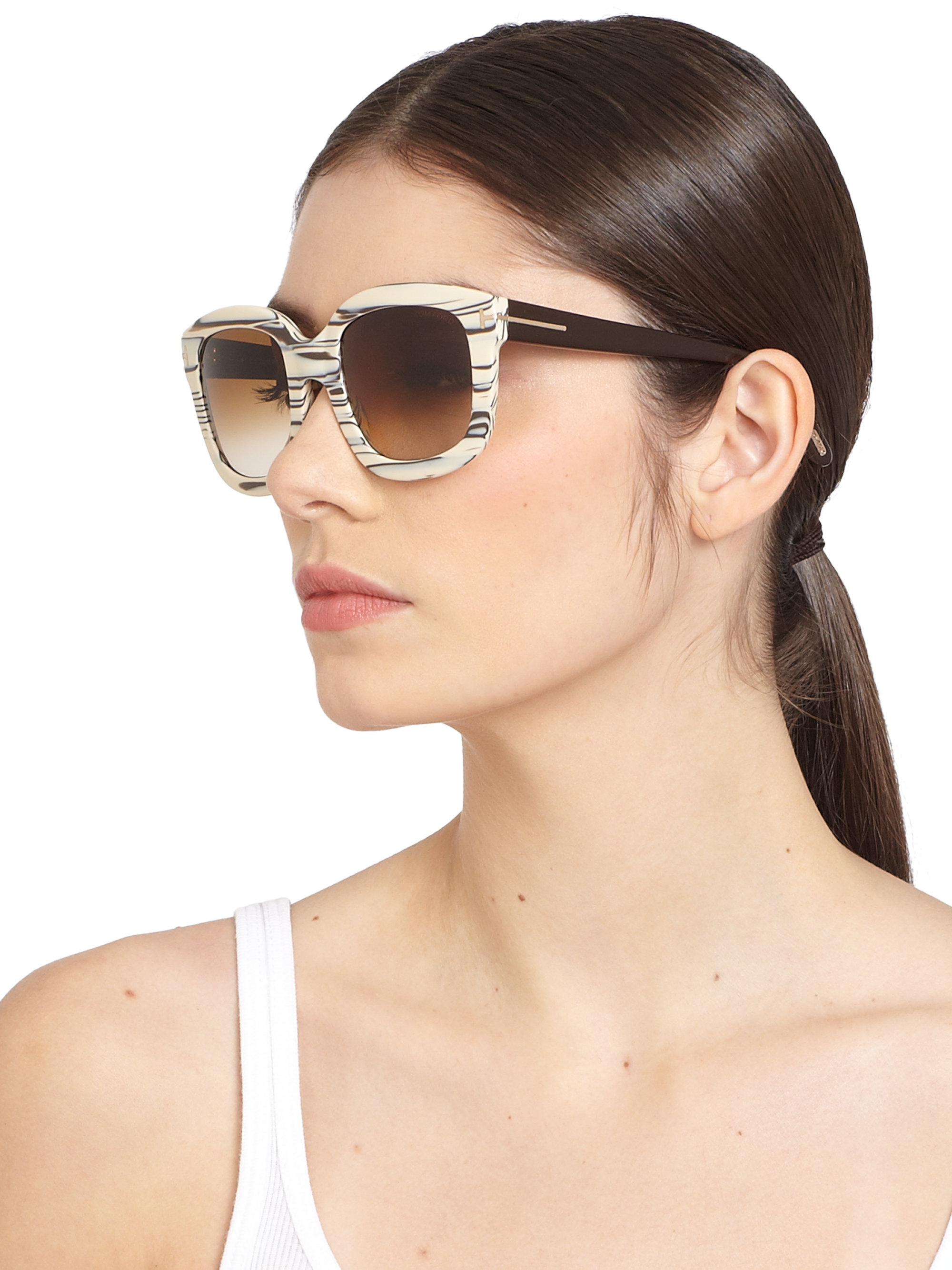 Tom Ford Christophe Oversized Square Sunglasses In Natural