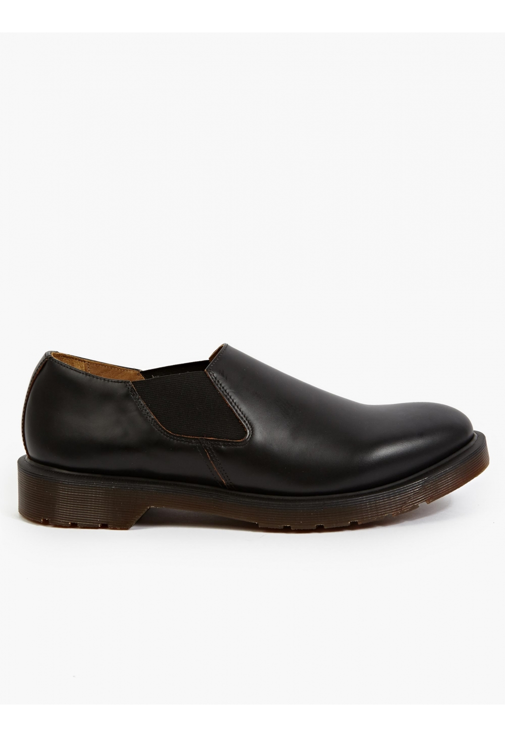 dr martens s black leather louis slip on shoes in