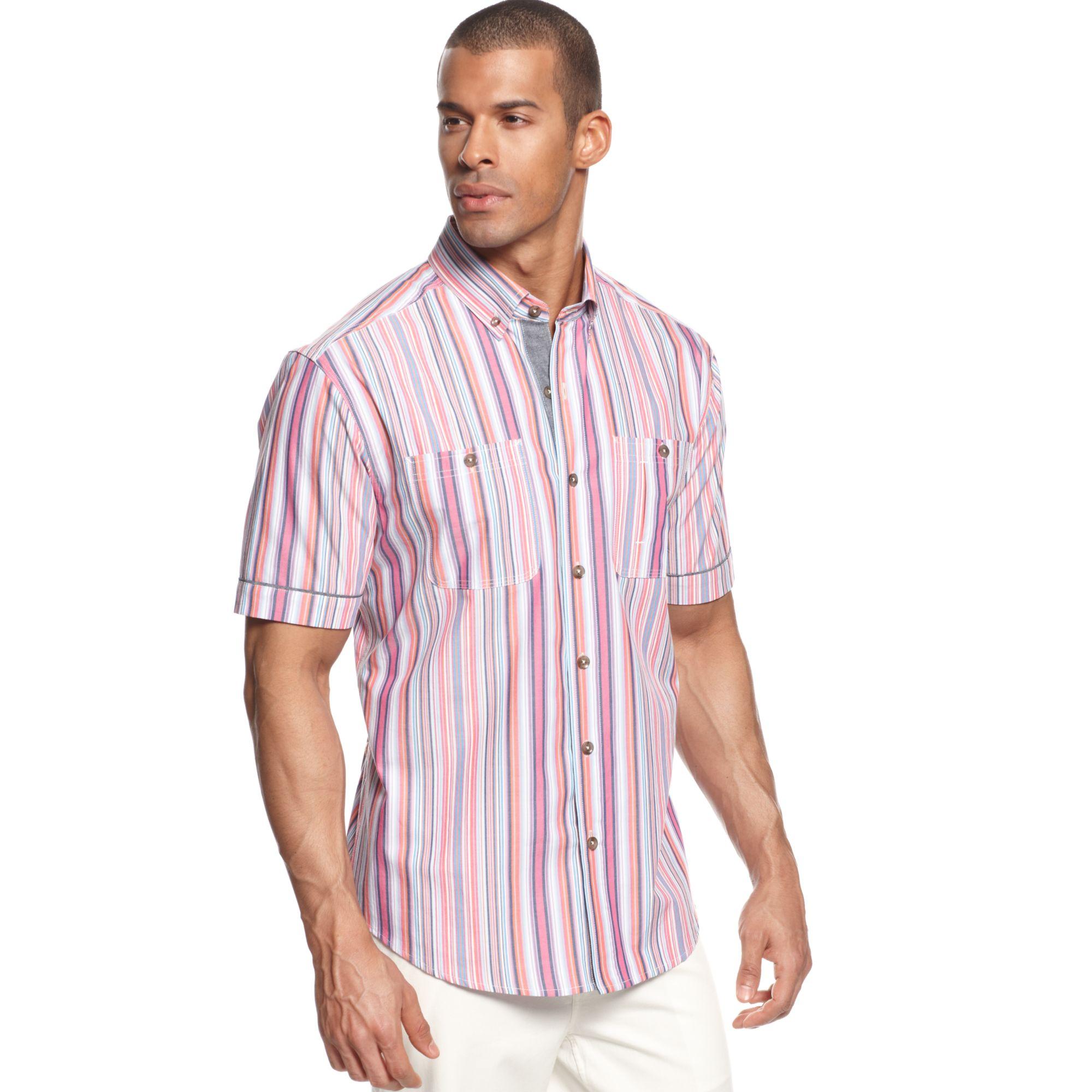Sean john big and tall miami striped shirt in purple for for Big and tall purple dress shirts