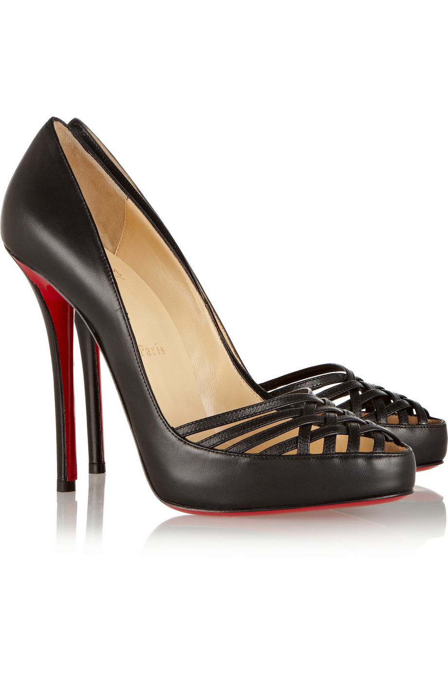 Christian louboutin Luciana 120 Cutout Leather Pumps in Black | Lyst