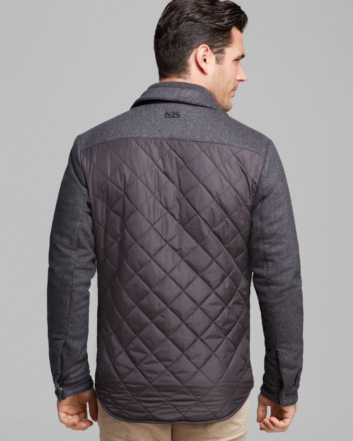 Michael Kors Quilted Shirt Jacket In Gray For Men Lyst