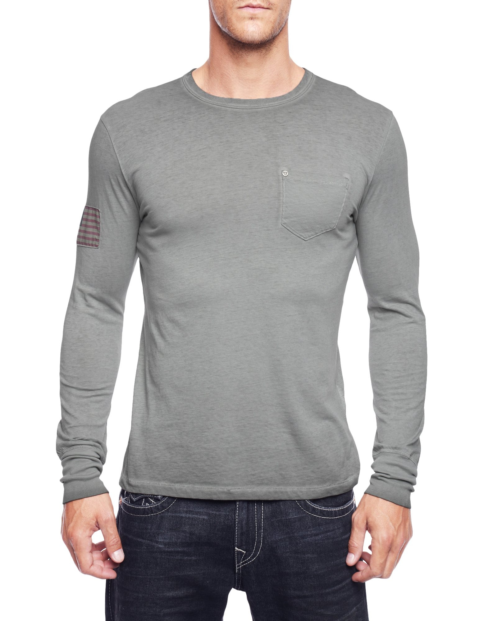True religion Eagle Long Sleeve Mens T-Shirt in Gray for Men | Lyst