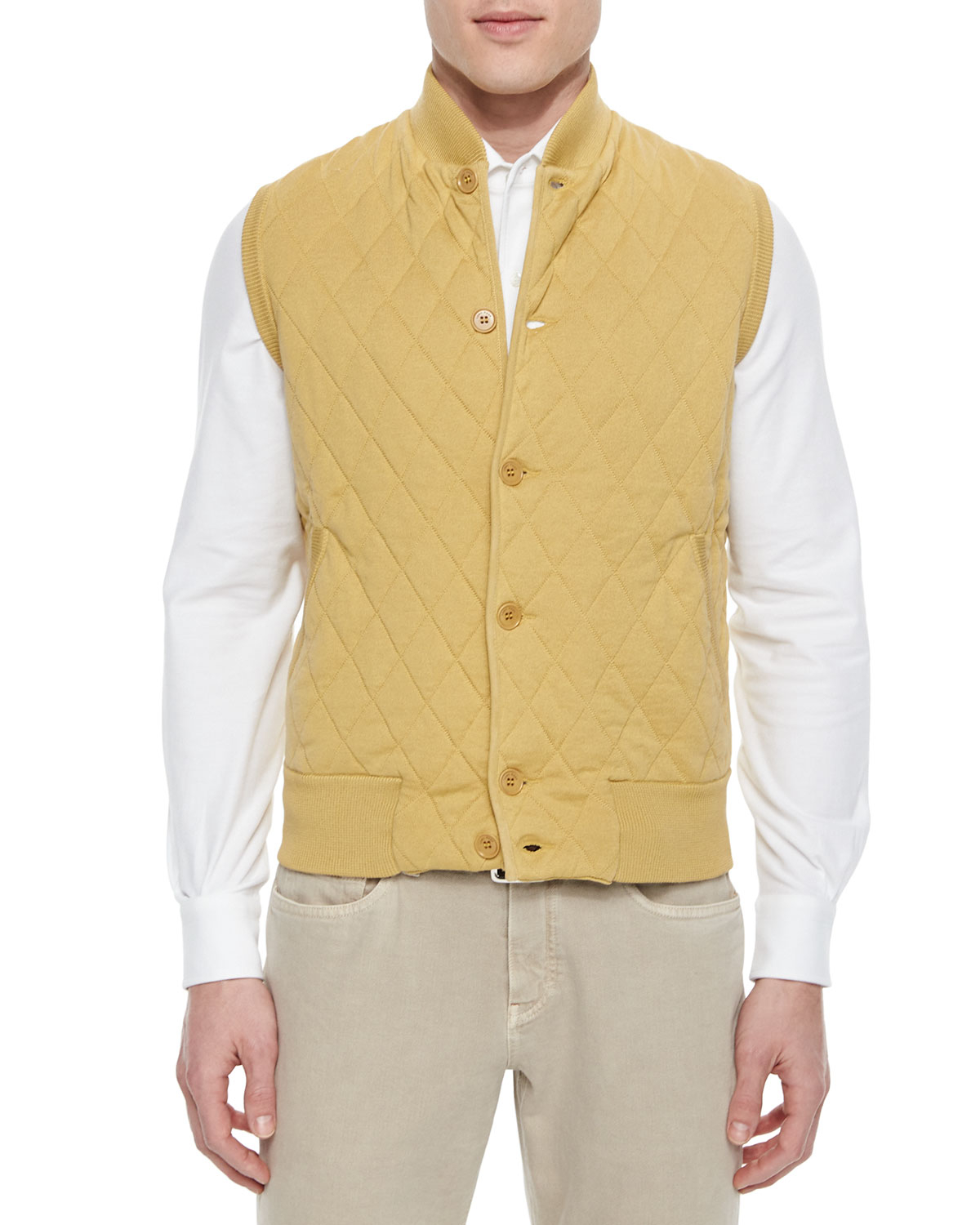 Loro piana Quilted Button-front Sweater Vest in Yellow for Men | Lyst