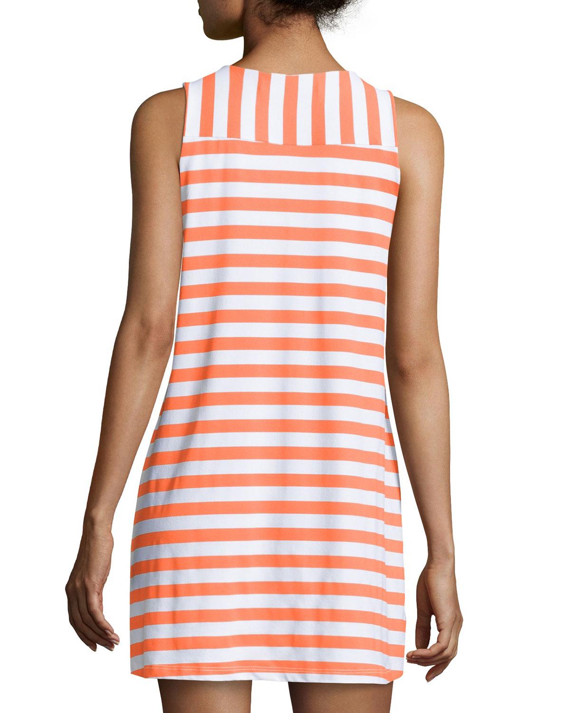 5da766a11025 Lyst - Susana Monaco Striped Sleeveless Shift Dress in Orange