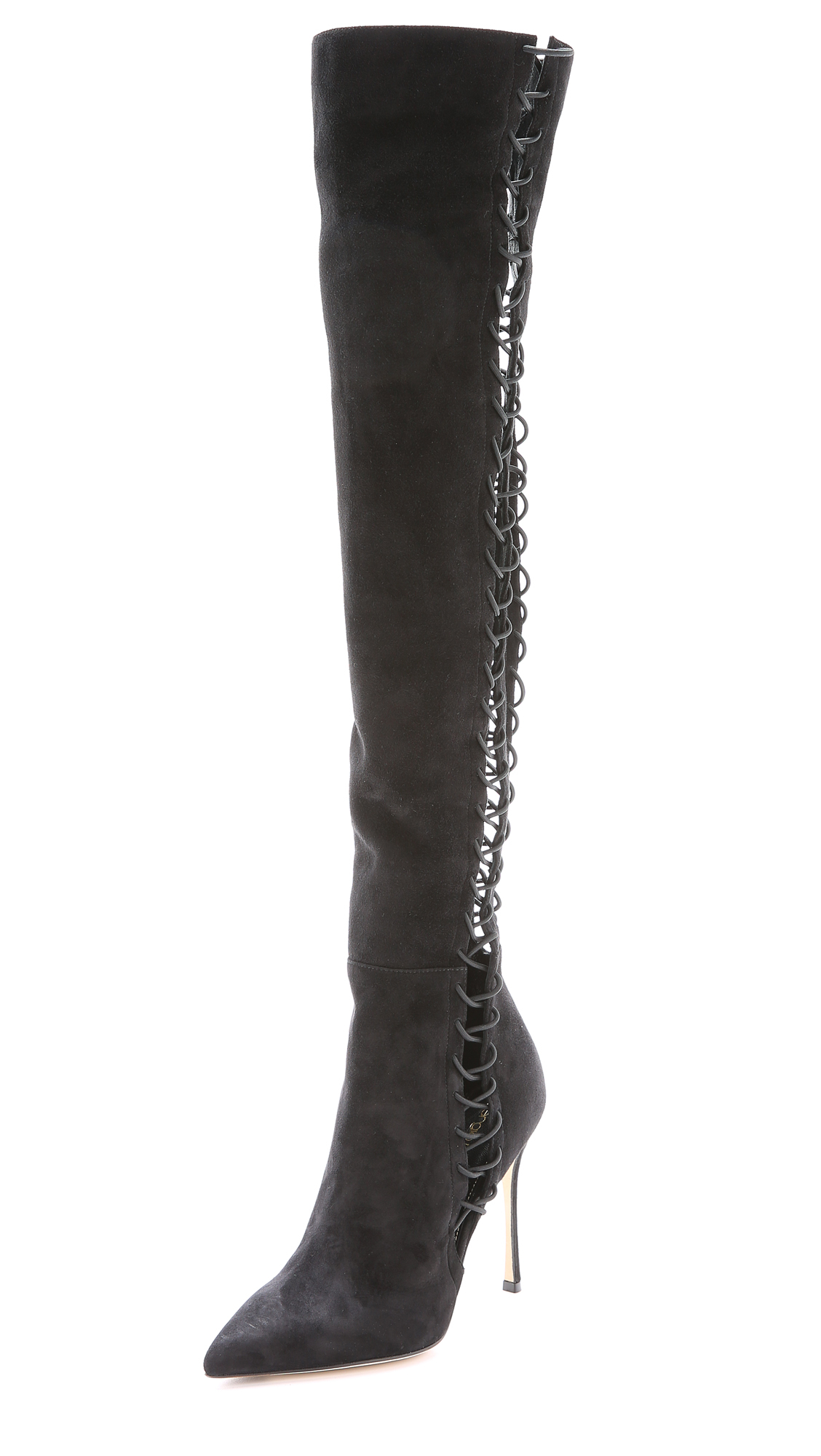 sergio lace up suede boots black in black lyst