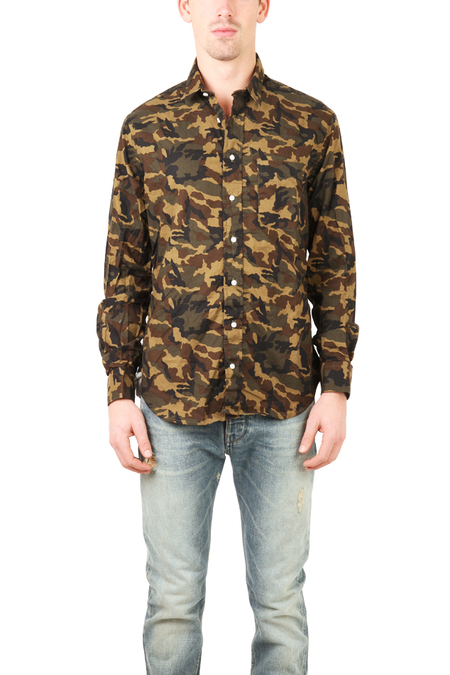 Blue Cream Camouflage Button Down Shirt In Green For Men