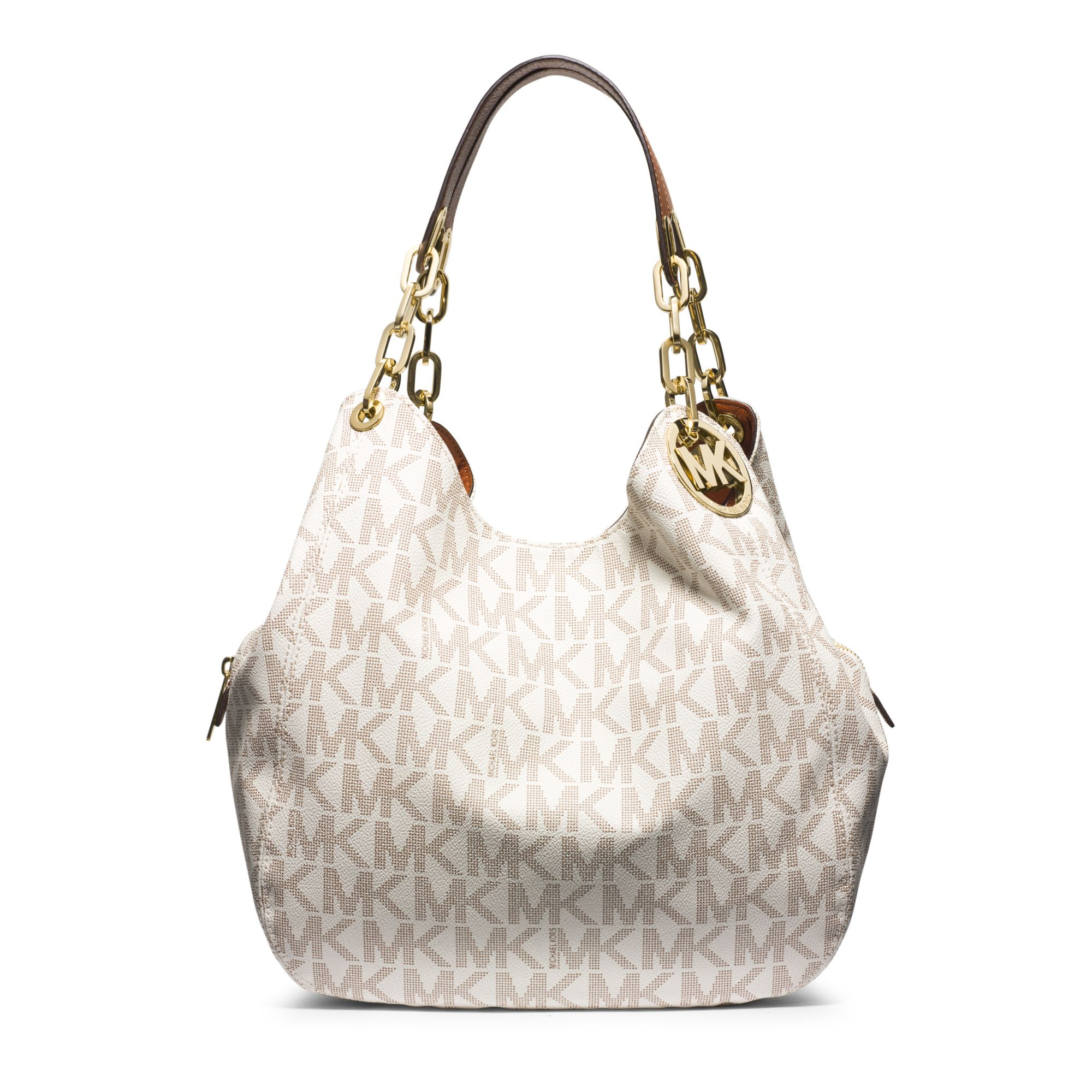 Lyst - Michael Kors Fulton Large Logo Shoulder Bag in White 5bcf749cead98