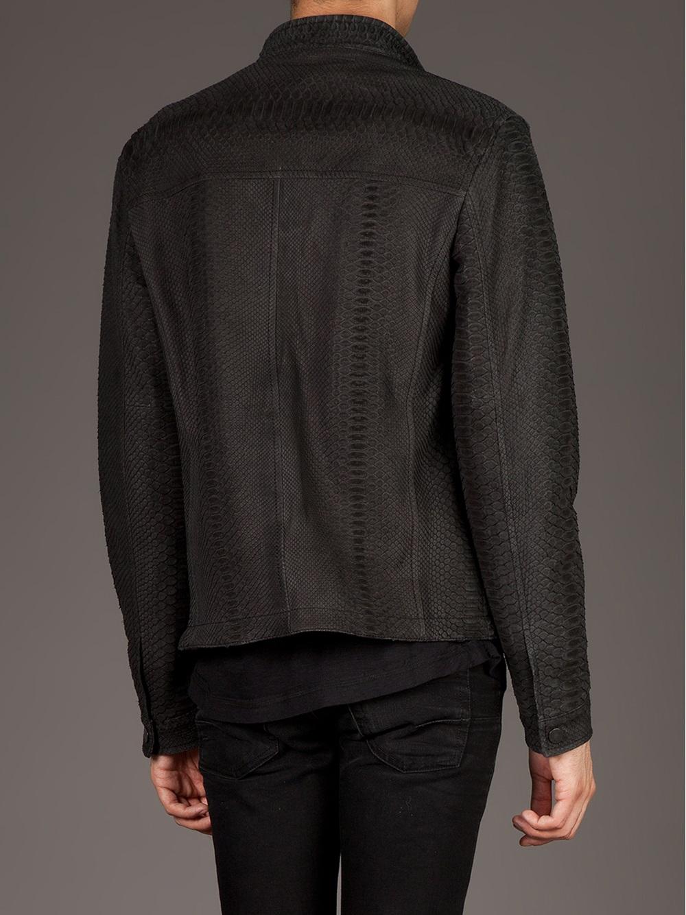 drome python skin jacket in black for men lyst