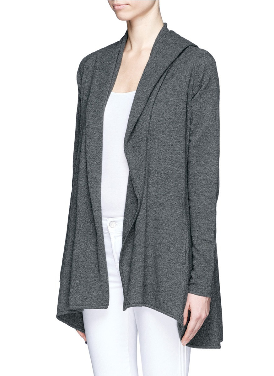 Vince Hooded Cashmere Draped Cardigan in Gray | Lyst