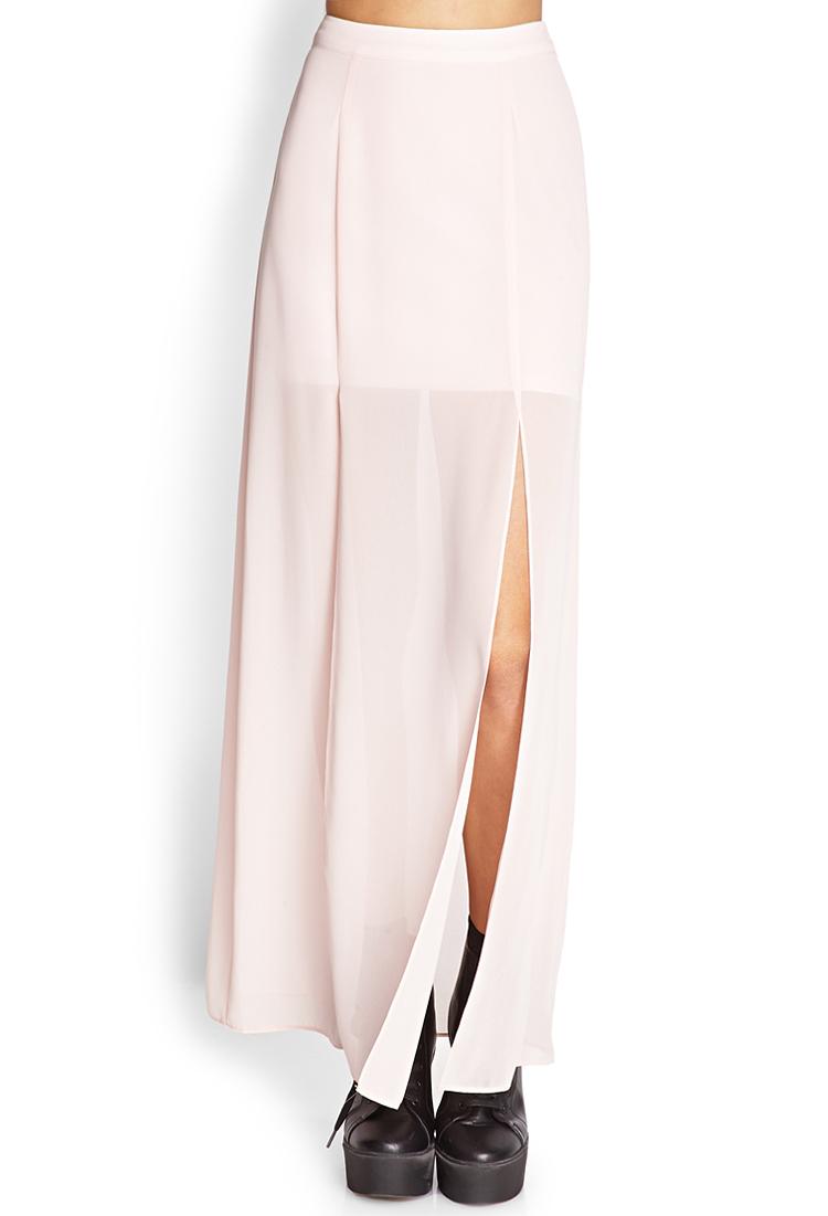 forever 21 m slit sheer maxi skirt in pink lyst