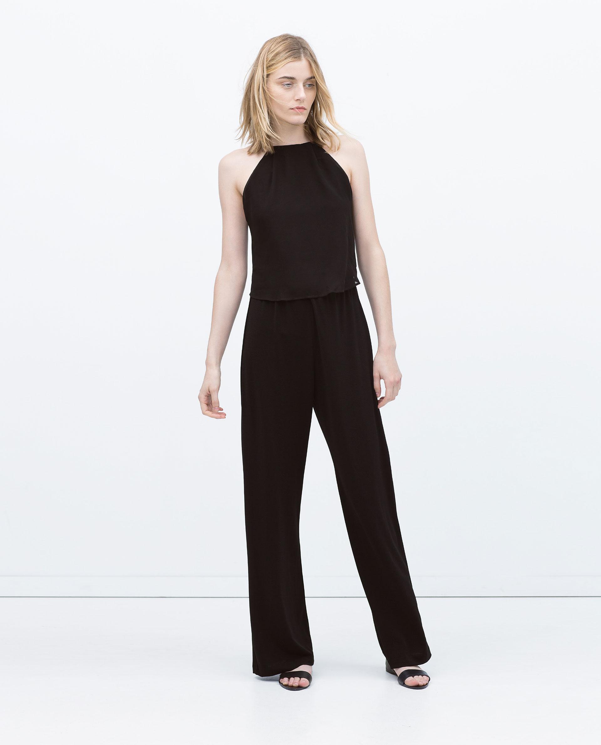 New Zara Open Back Jumpsuit In Black  Lyst