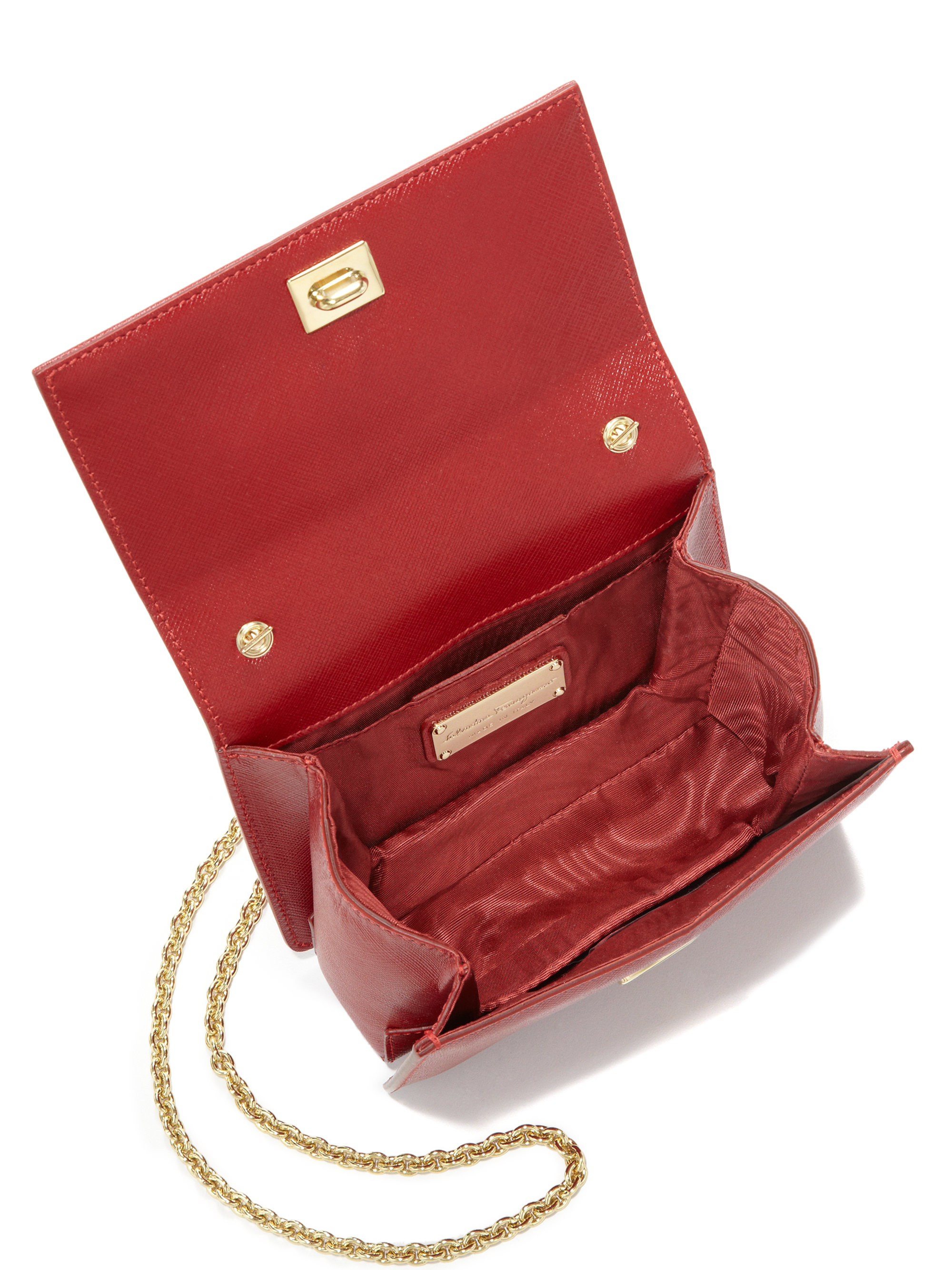 18f0e09aba90 Lyst - Ferragamo Ginny Mini Square Saffiano Leather Crossbody Bag in Red