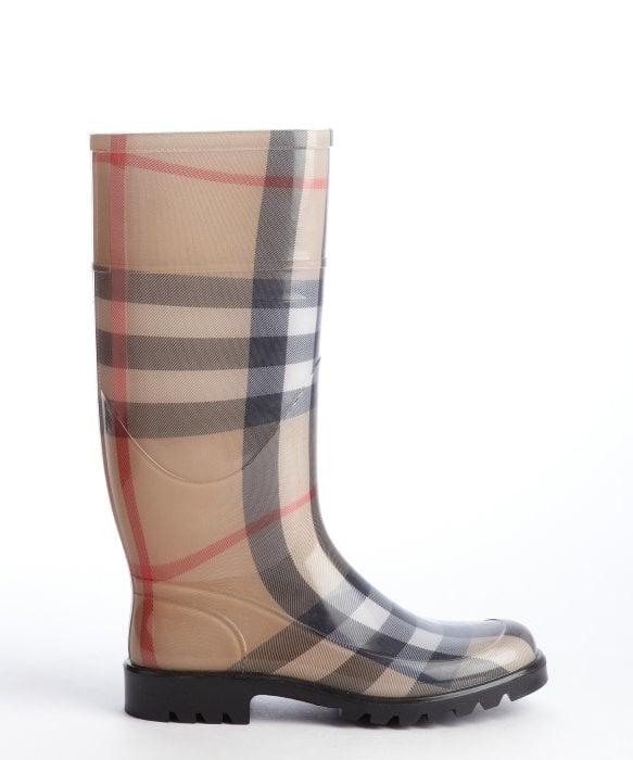 Burberry Beige Rubber Nova Check Rain Boots in Black for Men | Lyst