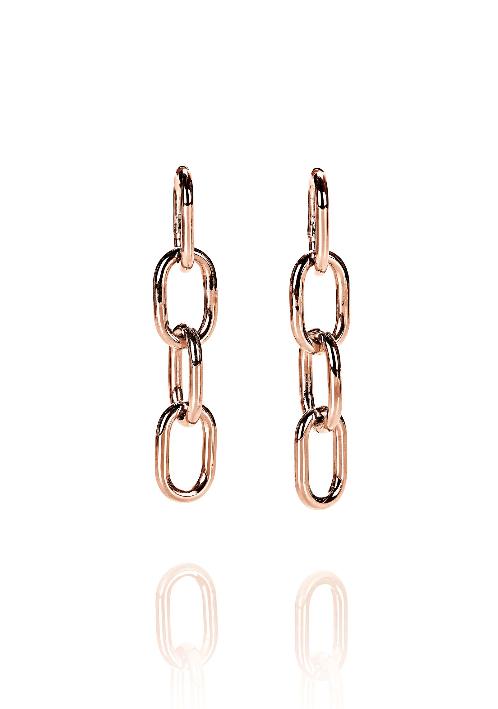 Alexander Wang Four Link Chain Earrings In Rose Gold In
