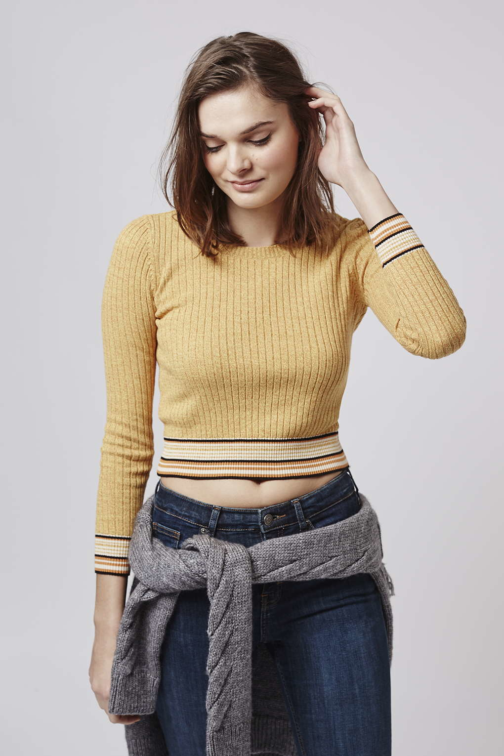 e398c8fa45f14c TOPSHOP Long Sleeve Ribbed Crop Top in Yellow - Lyst