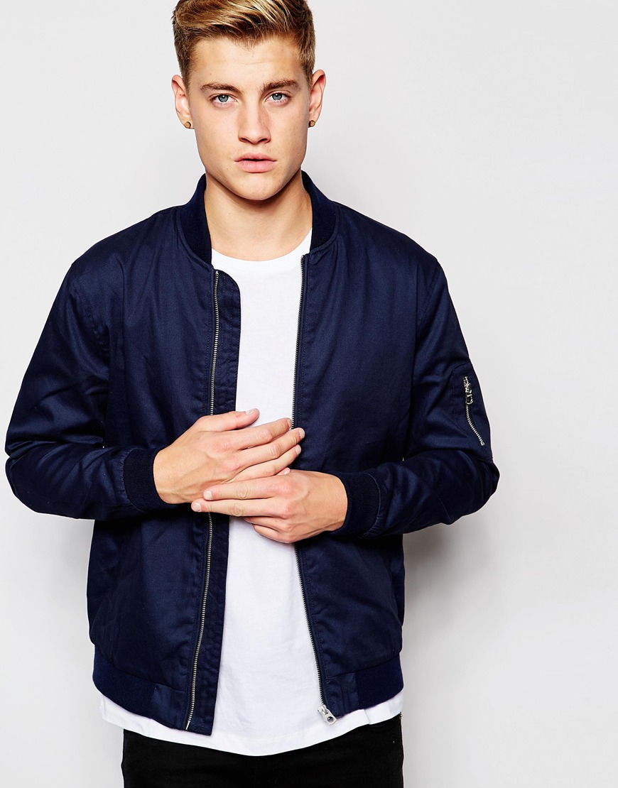 jack jones bomber jacket in blue for men lyst. Black Bedroom Furniture Sets. Home Design Ideas