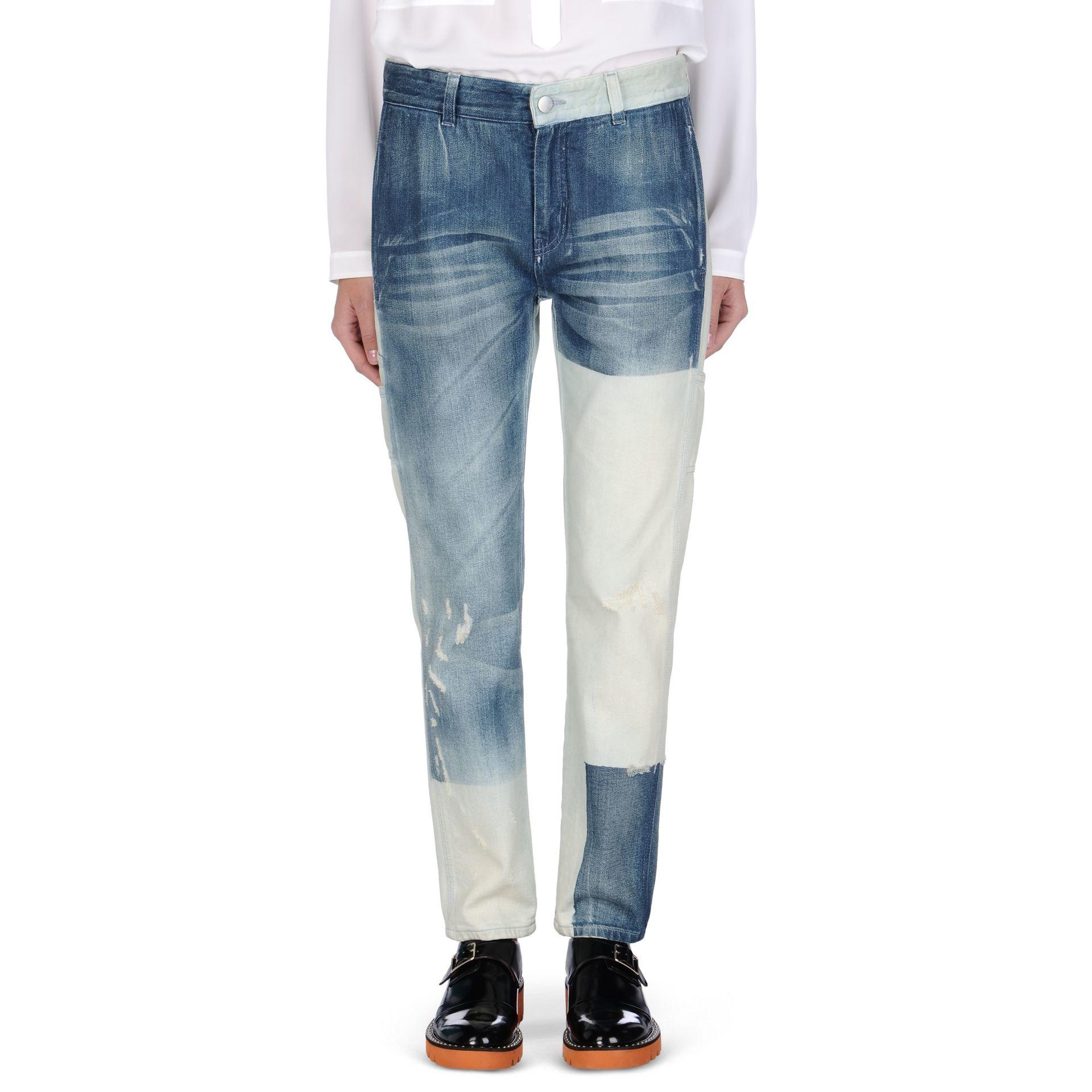 Stella mccartney Faded Blue Patchwork Boyfriend Jeans in Blue | Lyst