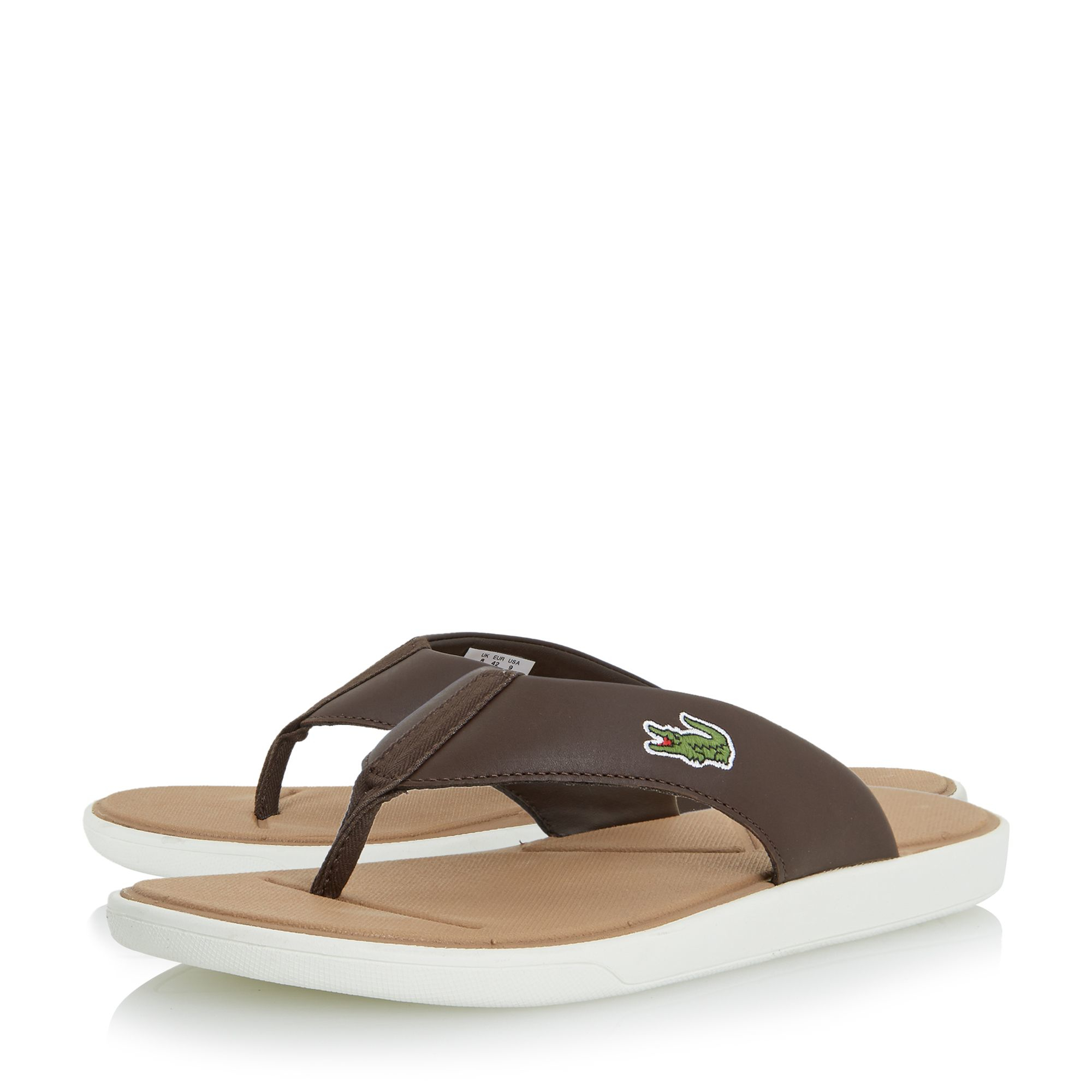 Lacoste L30 Leather Toe Post Flip Flops In Brown For Men -5911