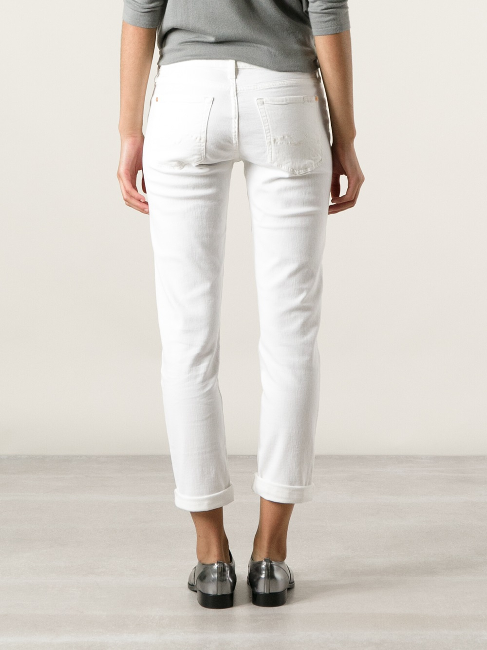 7 for all mankind Josefina Boyfriend Jeans in White | Lyst