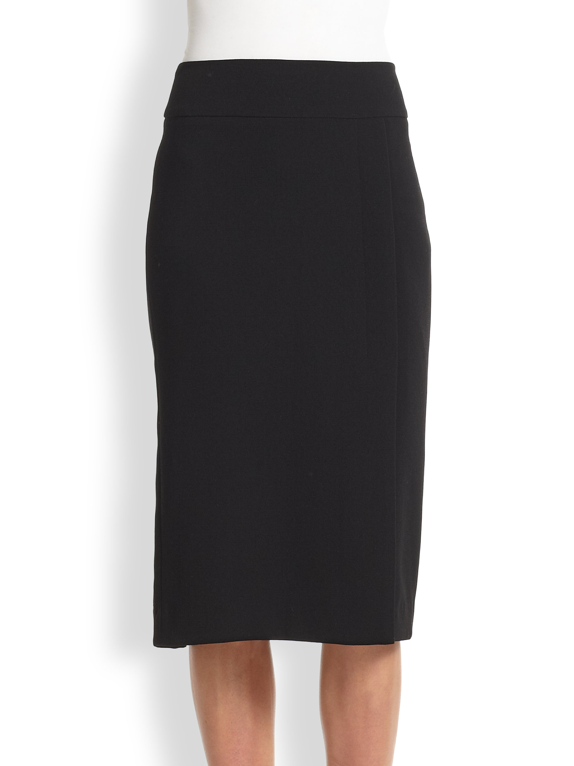 vince crepe pencil skirt in black lyst