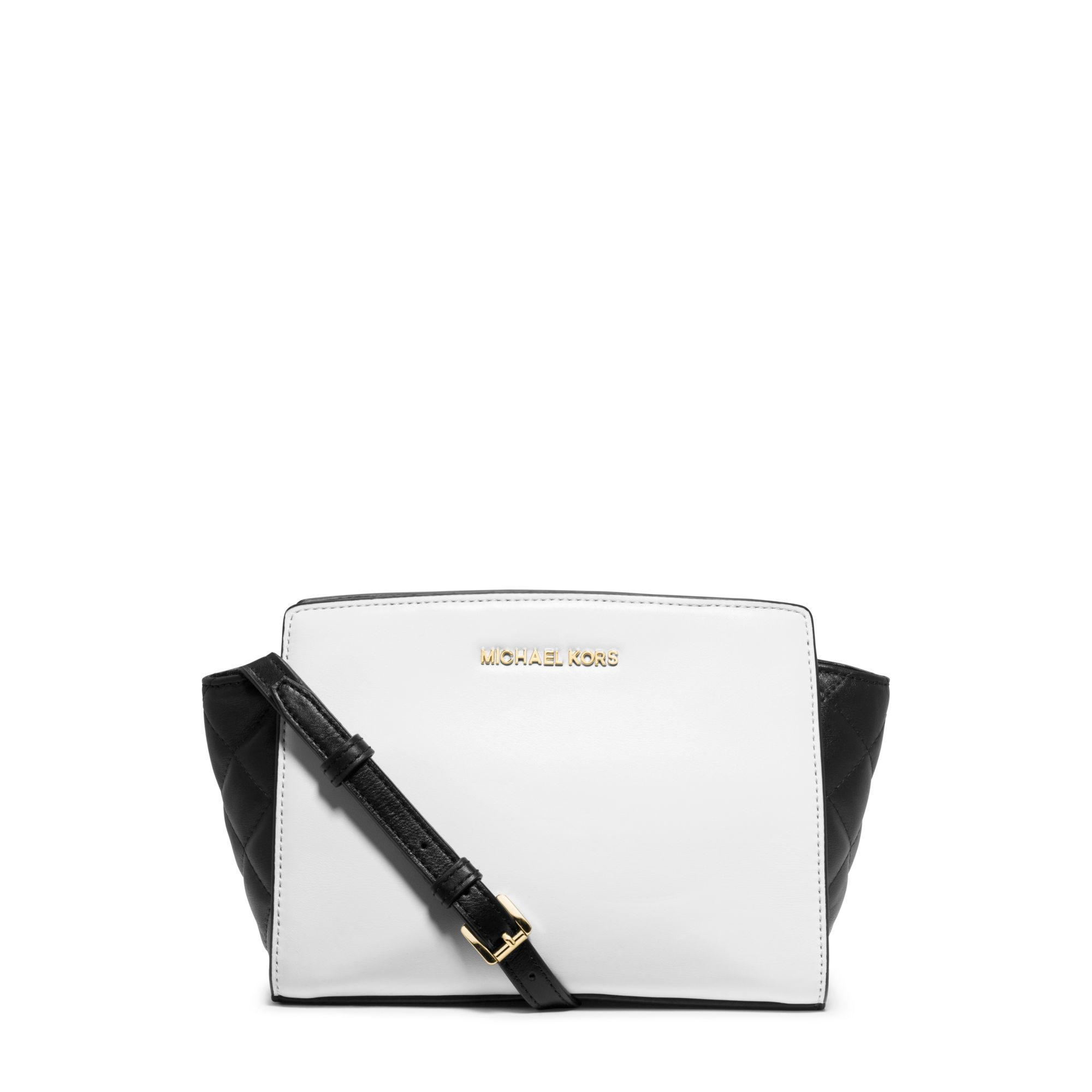 a6492cb6aba4ad Michael Kors Selma Medium Color-block Leather Messenger in White - Lyst