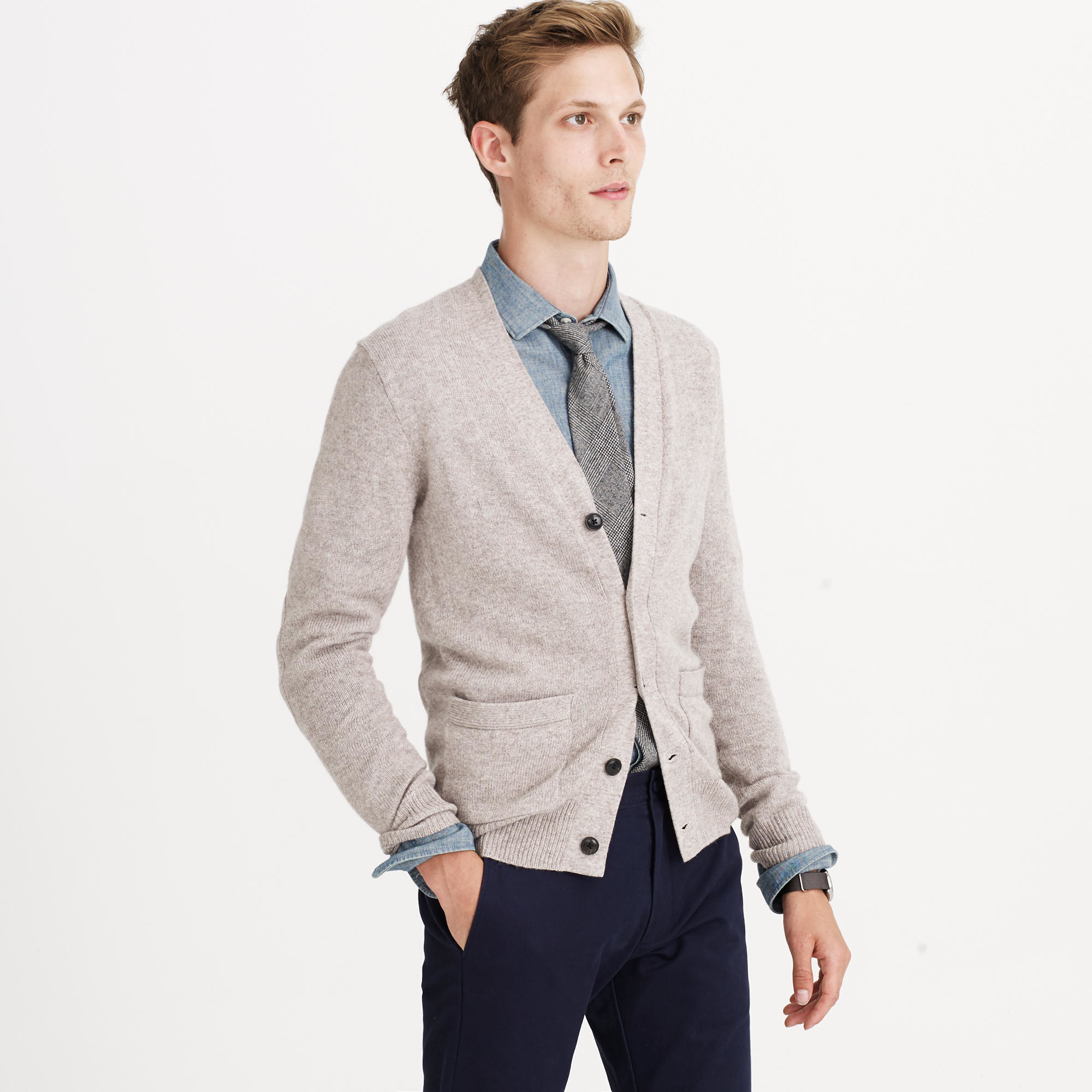 Slim softspun cardigan sweater in gray for men lyst for J crew mens outfits