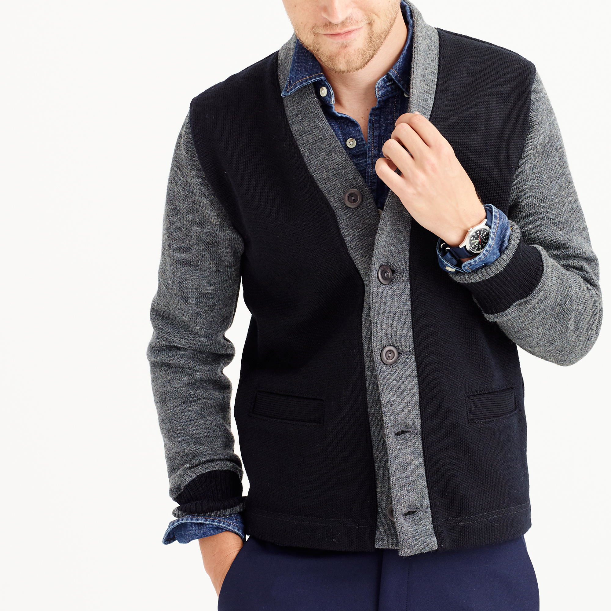 J.crew Dehen Cardigan Sweater In Black Wool in Black for Men | Lyst