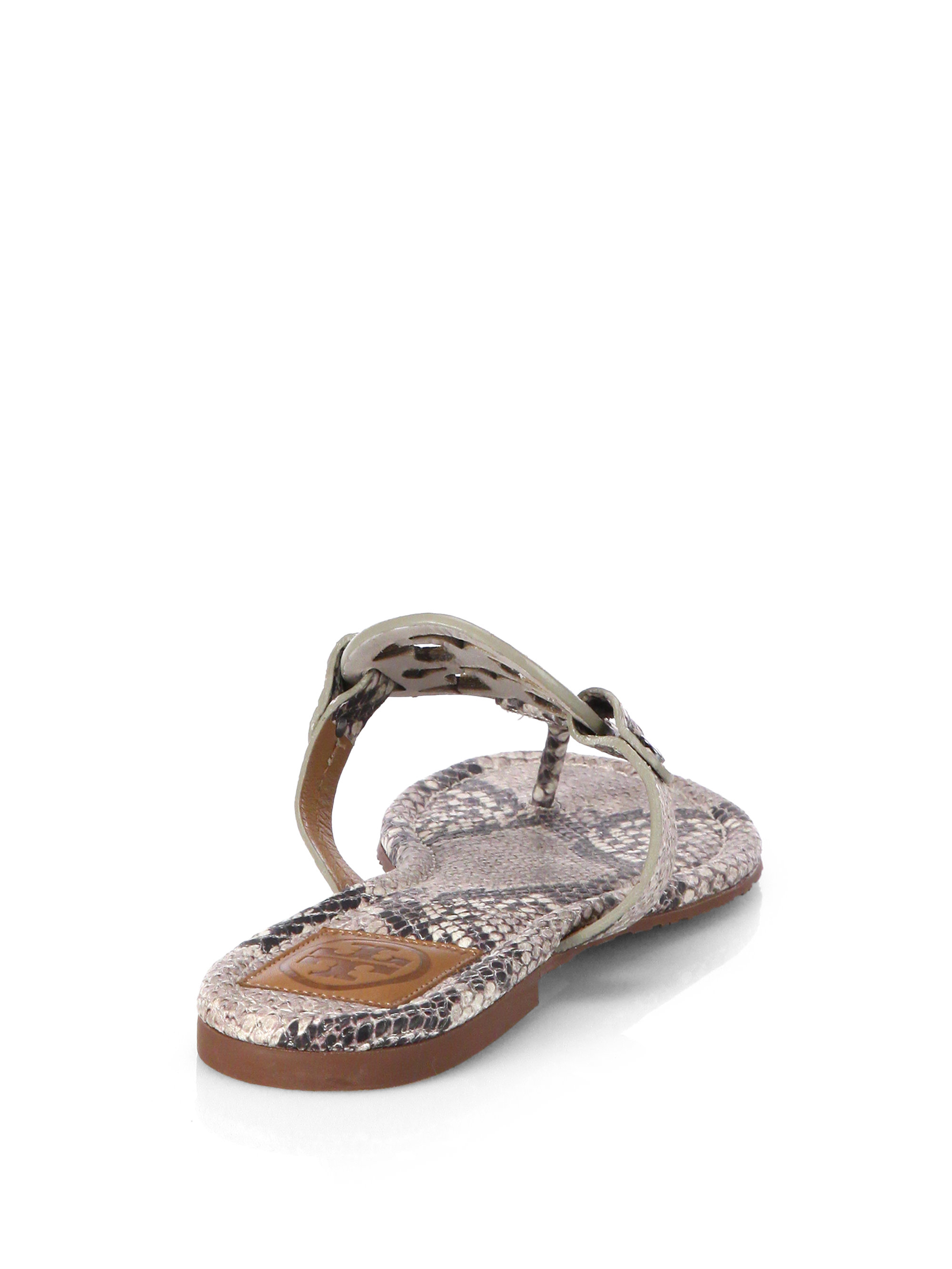 b649a1e7d2a191 Lyst - Tory Burch Miller Snake-Effect Leather Sandals in Natural