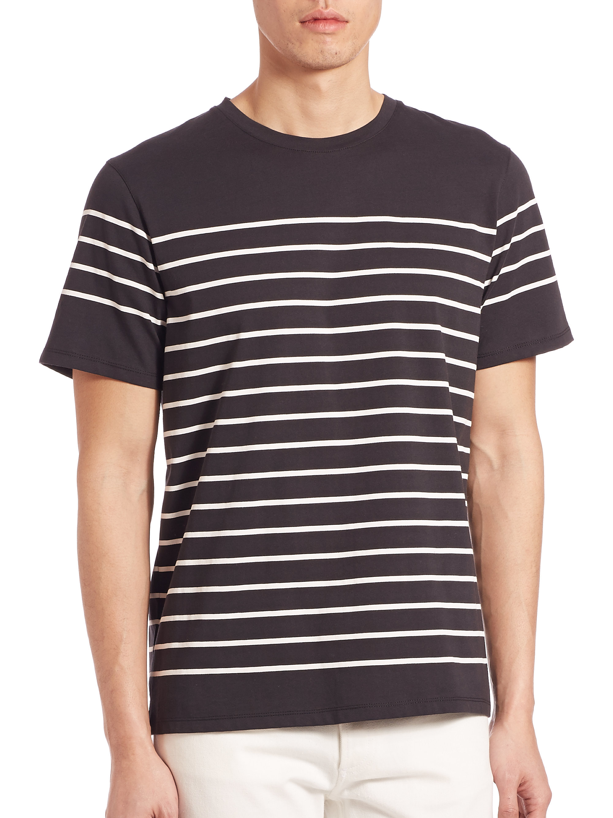 A p c calanque stripe tee in black for men lyst for Apc white t shirt