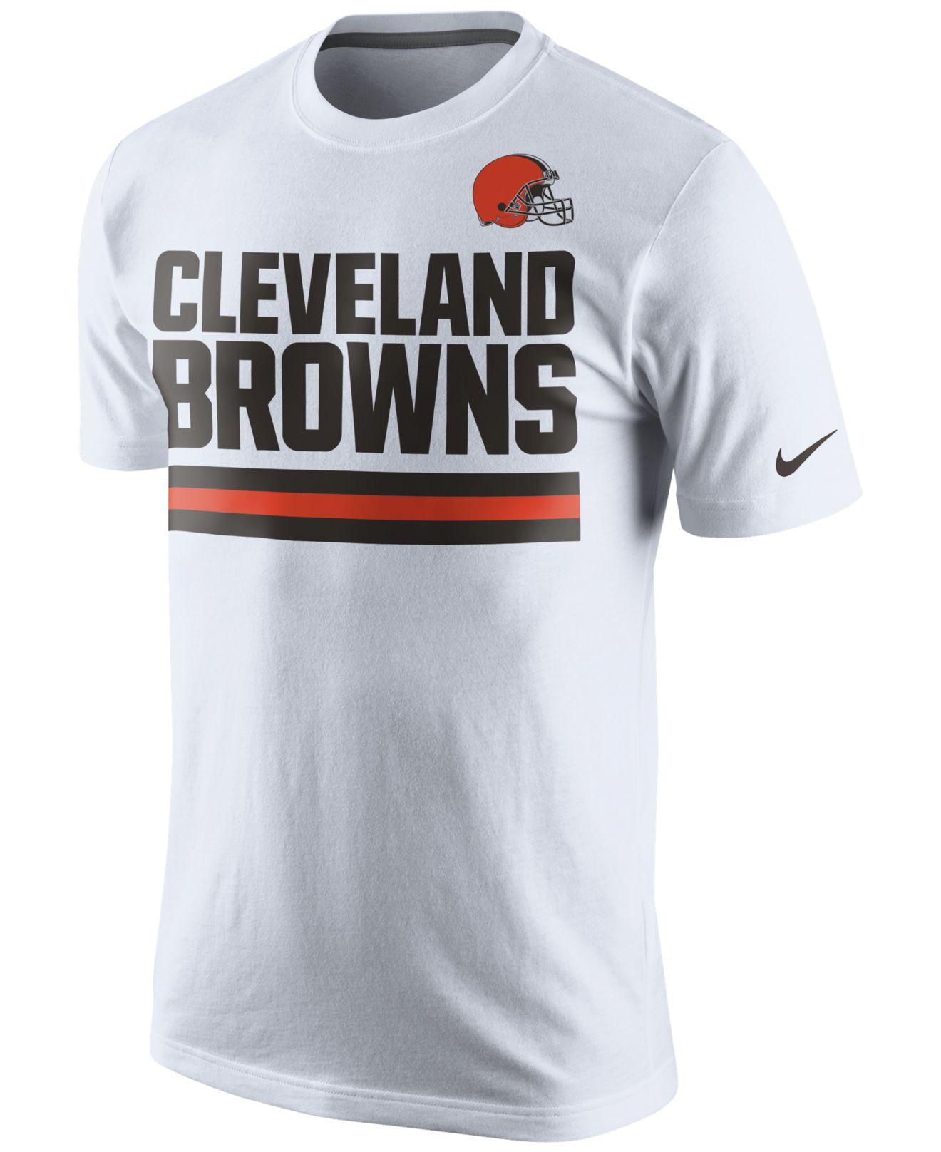 lyst nike men s cleveland browns team stripe t shirt in white for men rh lyst com