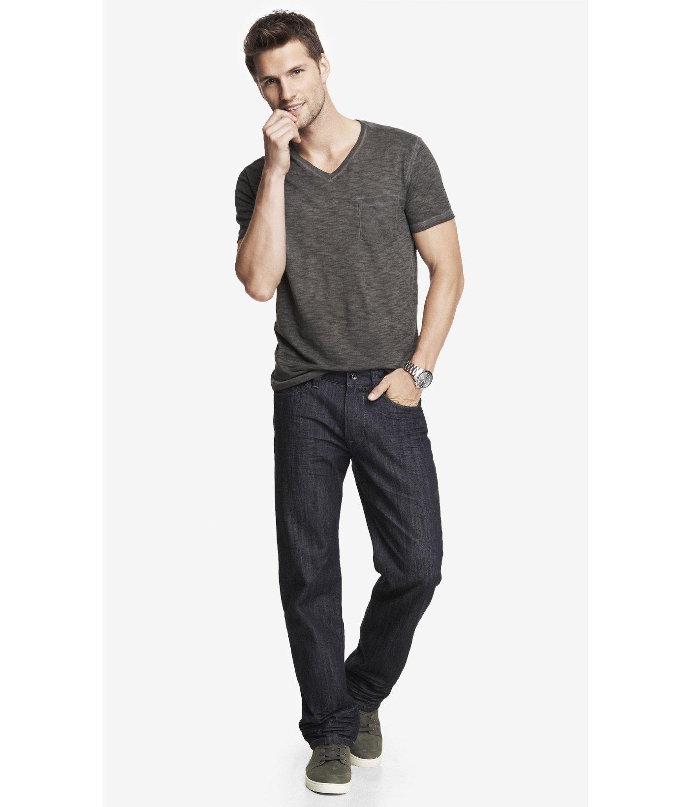 express blake loose fit straight leg jean in blue for men. Black Bedroom Furniture Sets. Home Design Ideas