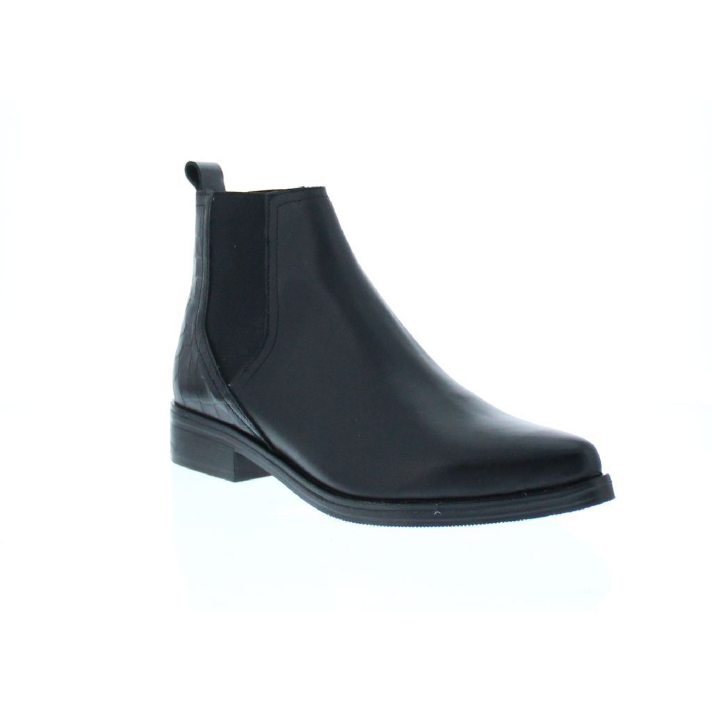 bronx leather and croc chelsea boot in black for lyst