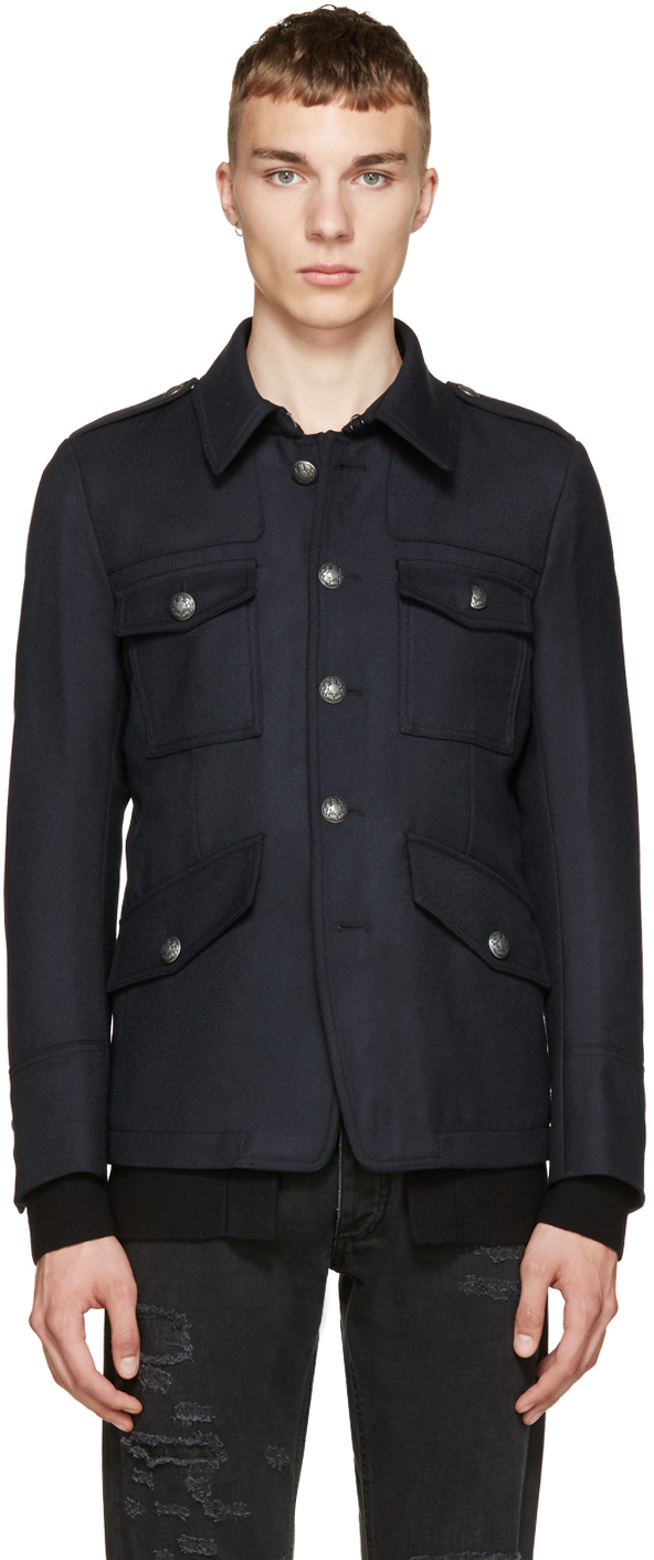 Diesel black gold Navy Military Jacket in Blue for Men | Lyst