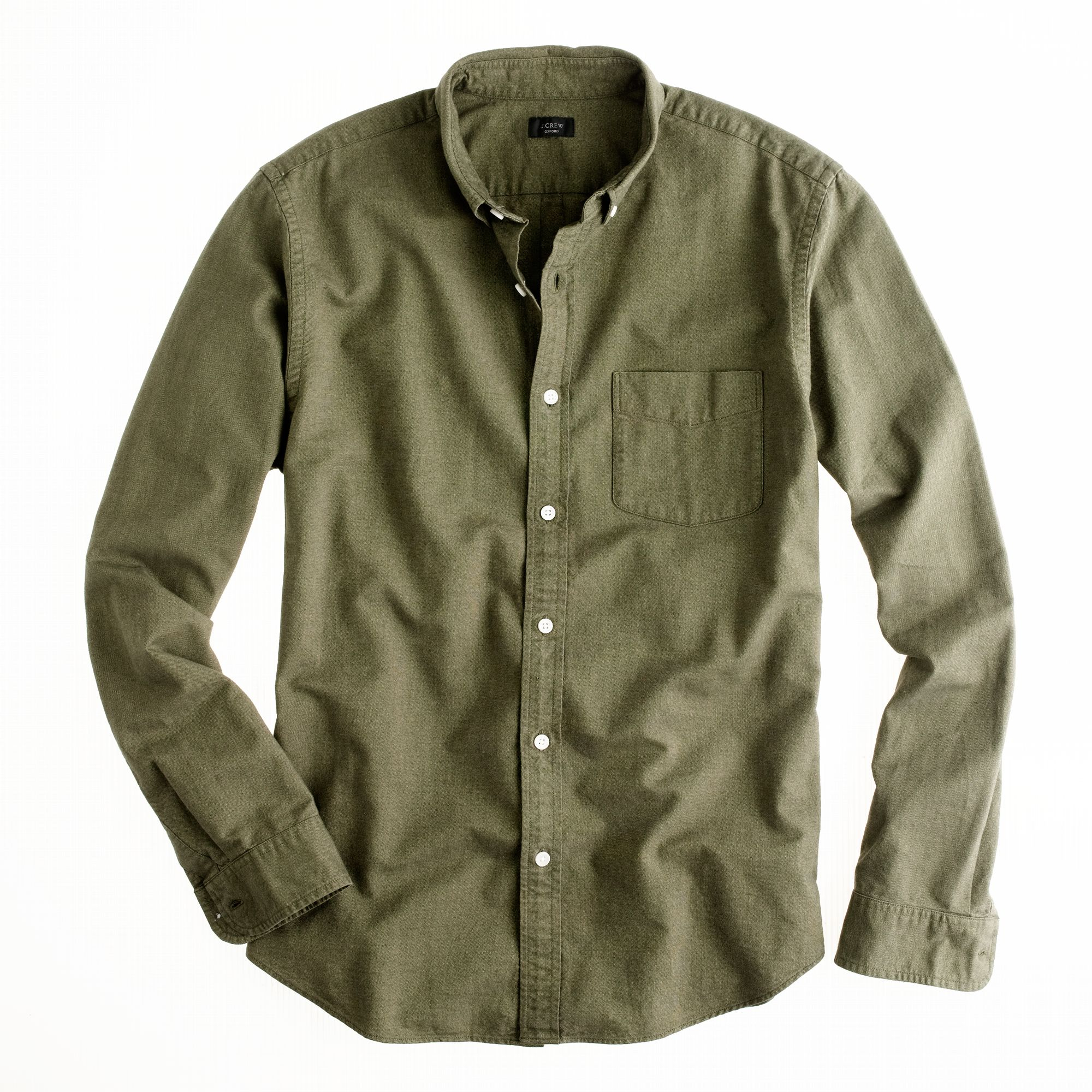 Vintage oxford shirt in tonal cotton in green for for Olive green oxford shirt