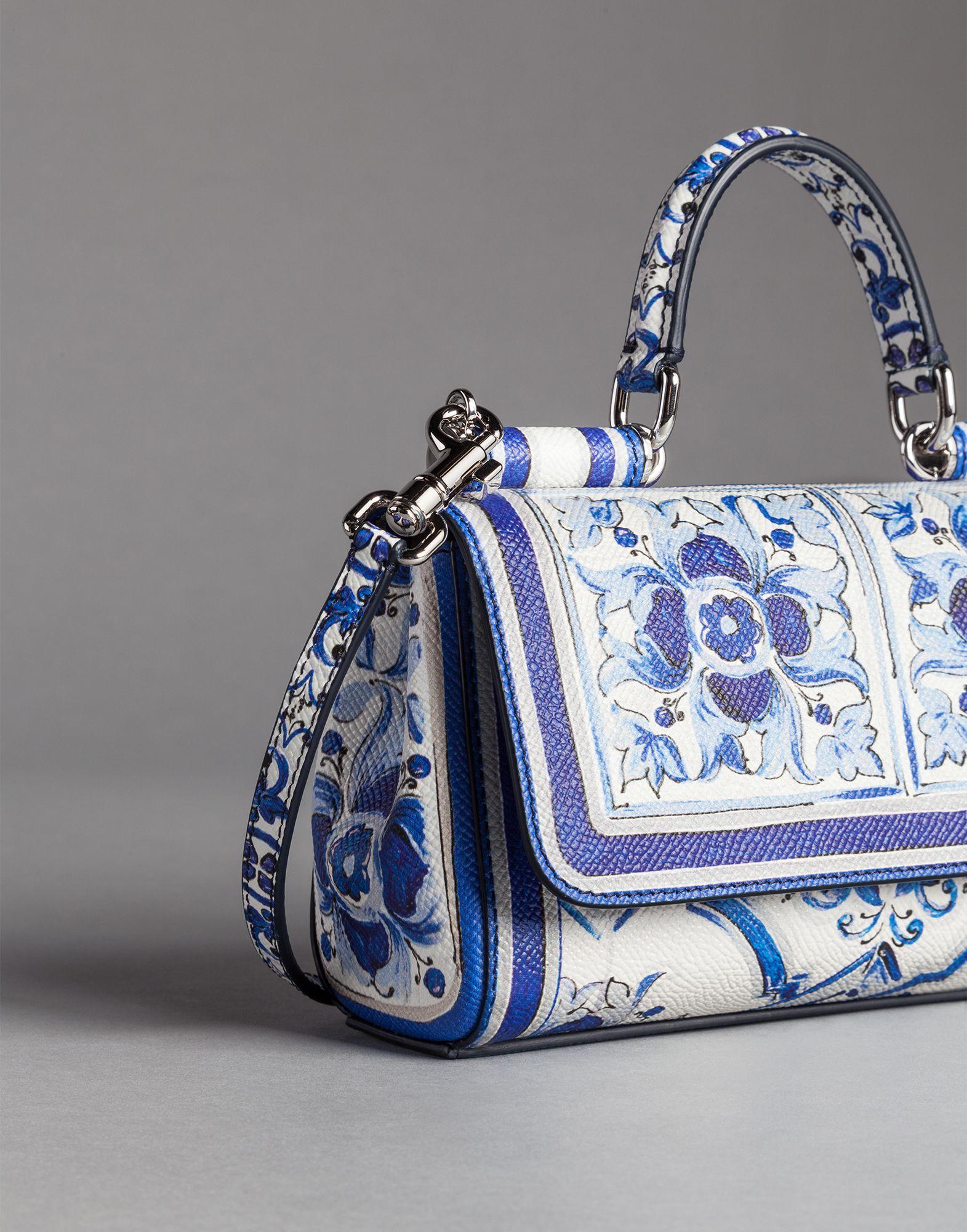 45a0b1f20a Dolce   Gabbana Blue Majolica Print Dauphine Sicily Shoulder Bag in ...